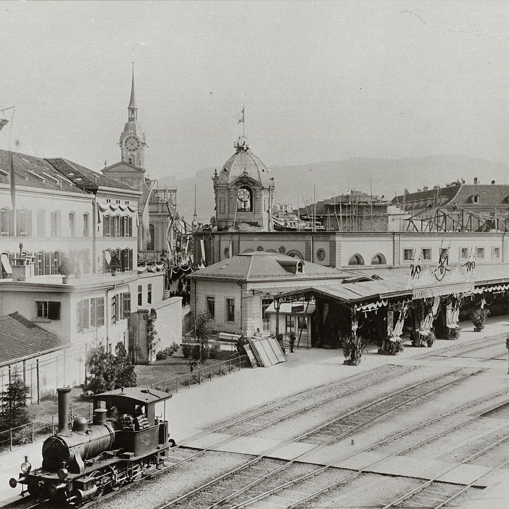 Das Hauptpostgebäude Bern im Jahre 1897.