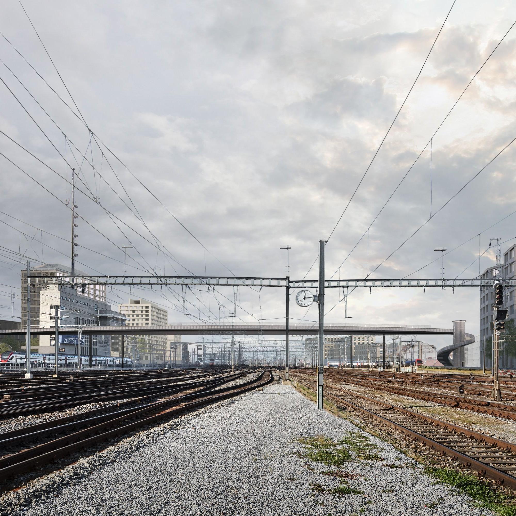 So soll der Negrellisteg aussehen, Ansicht vom Gleisfeld.