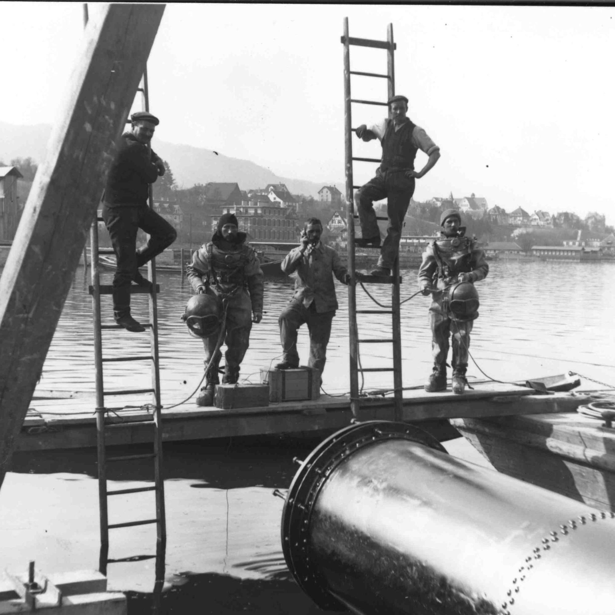 Taucher am Zürichsee, 1913