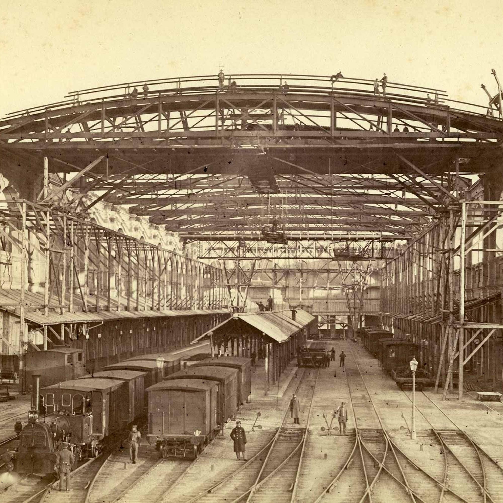 Baustelle Hauptbahnhof um 1867.