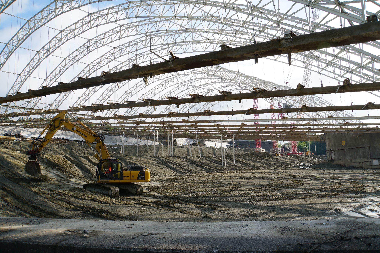 Rückbau verbliebene Dachkonstruktion