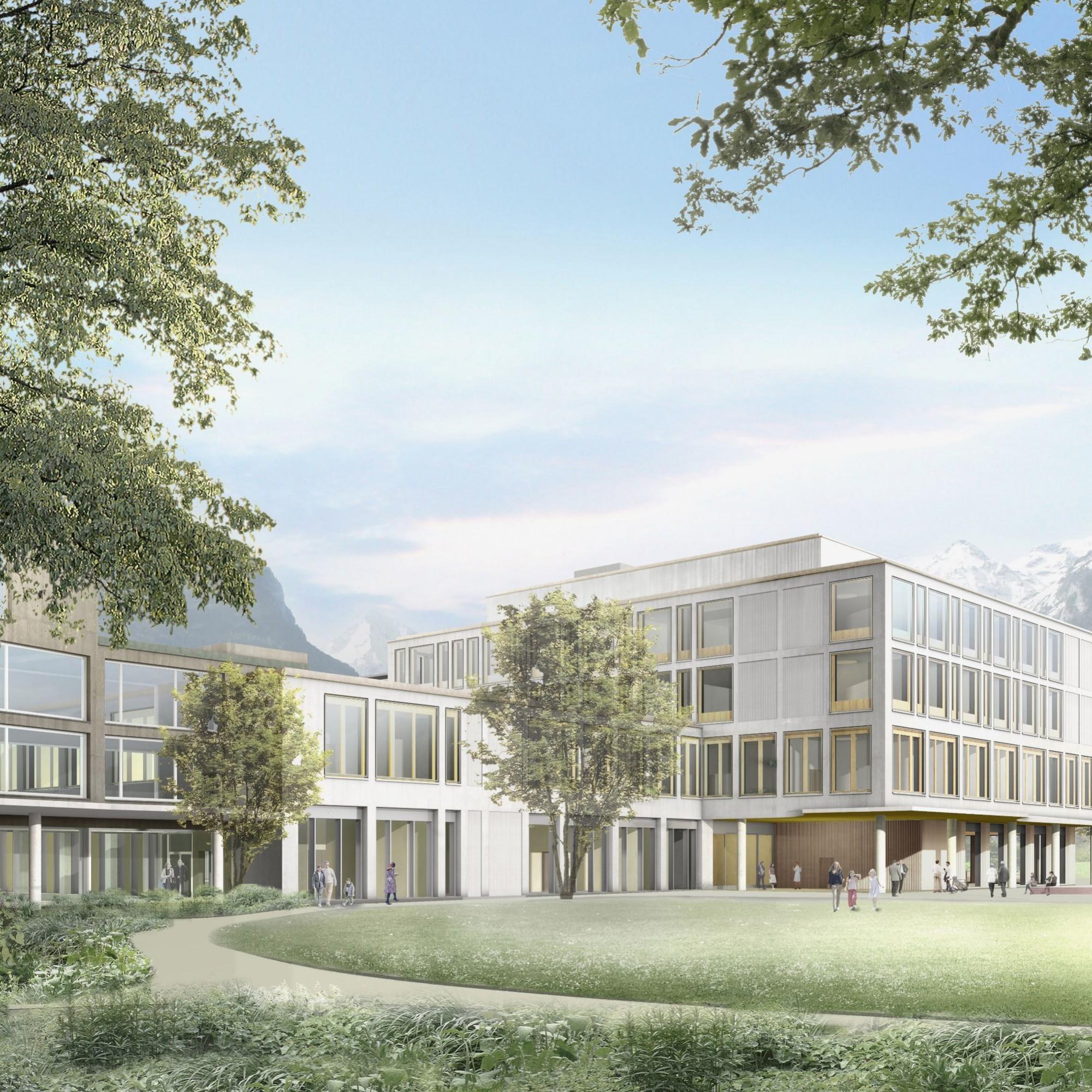 Aussenansicht des neuen Kantonsspitals Uri von der Spitalstrasse aus gesehen.