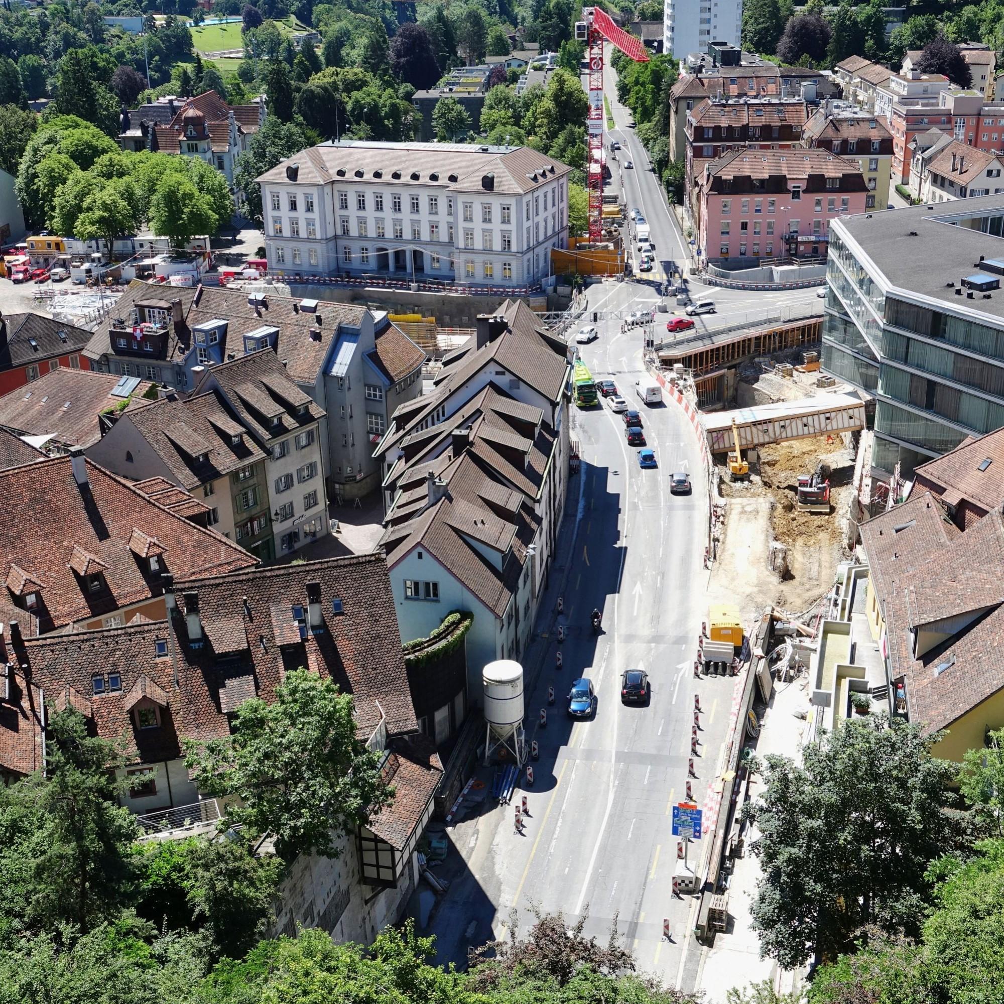 Bauarbeiten Schulhausplatz Baden.
