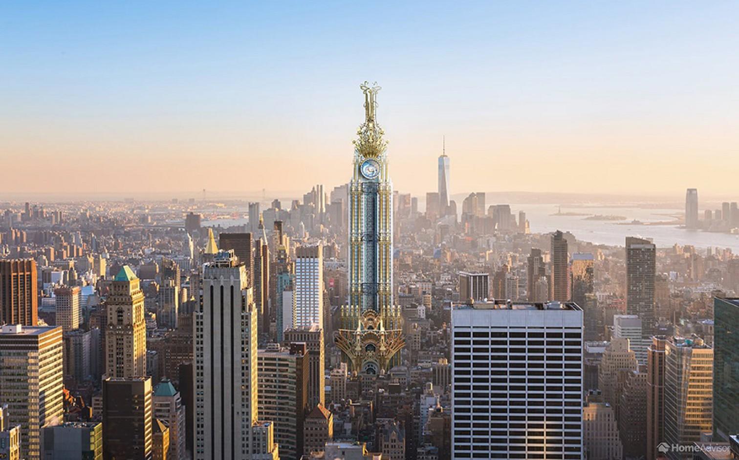 Das Empire State Building im Jugendstil. Die ersten Gebäude dieses Stils entstanden zirka ab1890. Die Architekten verwendeten dafür meist Materialien wie Glas und Schmiedeeisen, um kunstvoll geschwungene Linienzu erzeugen, die von natürlichen Formen ins