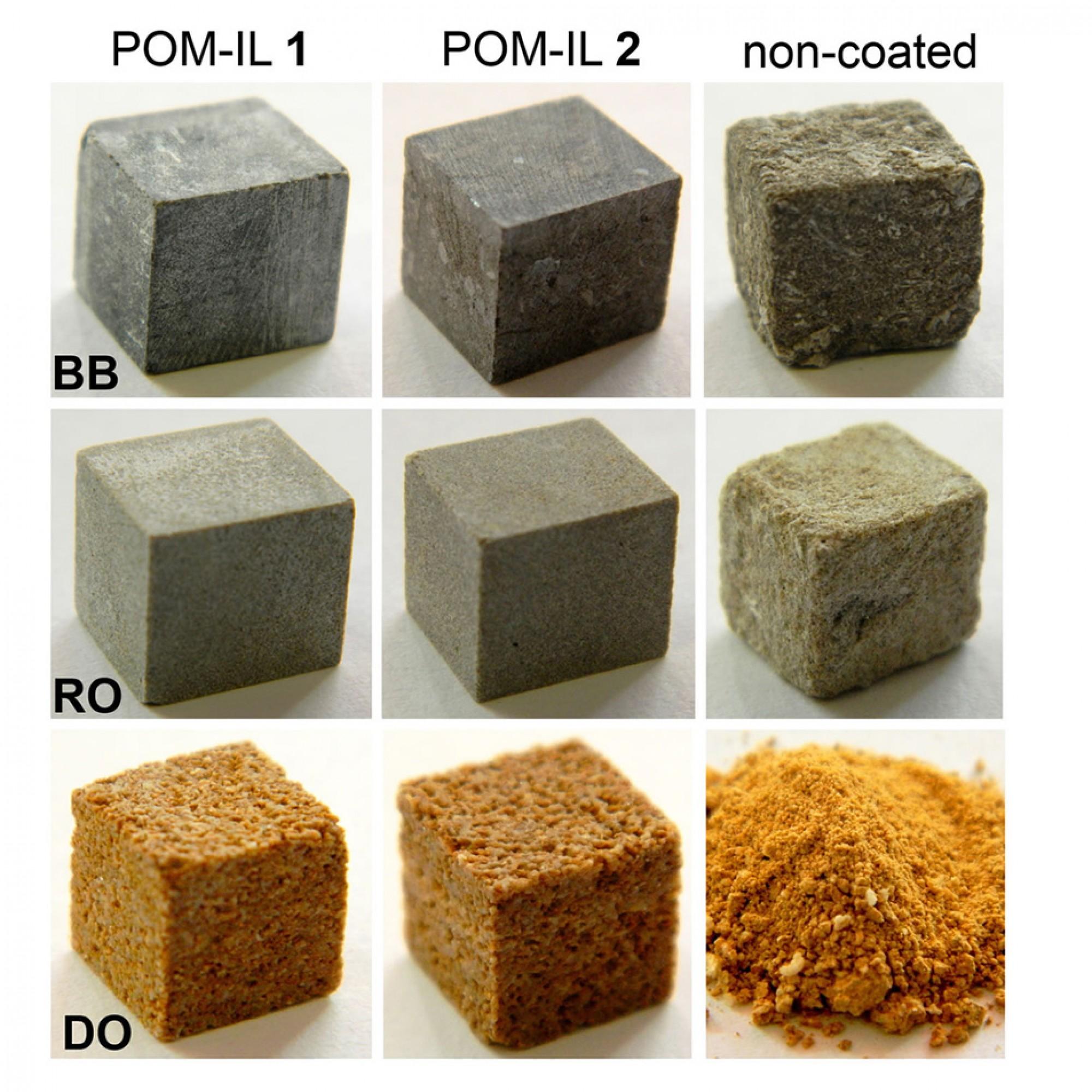 Das Team beschichtete verschiedene Gesteinsproben mit «POM-IL1»oder «POM-IL2» und bedampftediese mit Essigsäure. Es zeigte sich, dass die mit dem Korrosionsschutz bestrichenen Proben kaum gelitten haben (Spalte 1 und Spalte 2). Die naturbelassenen Refer