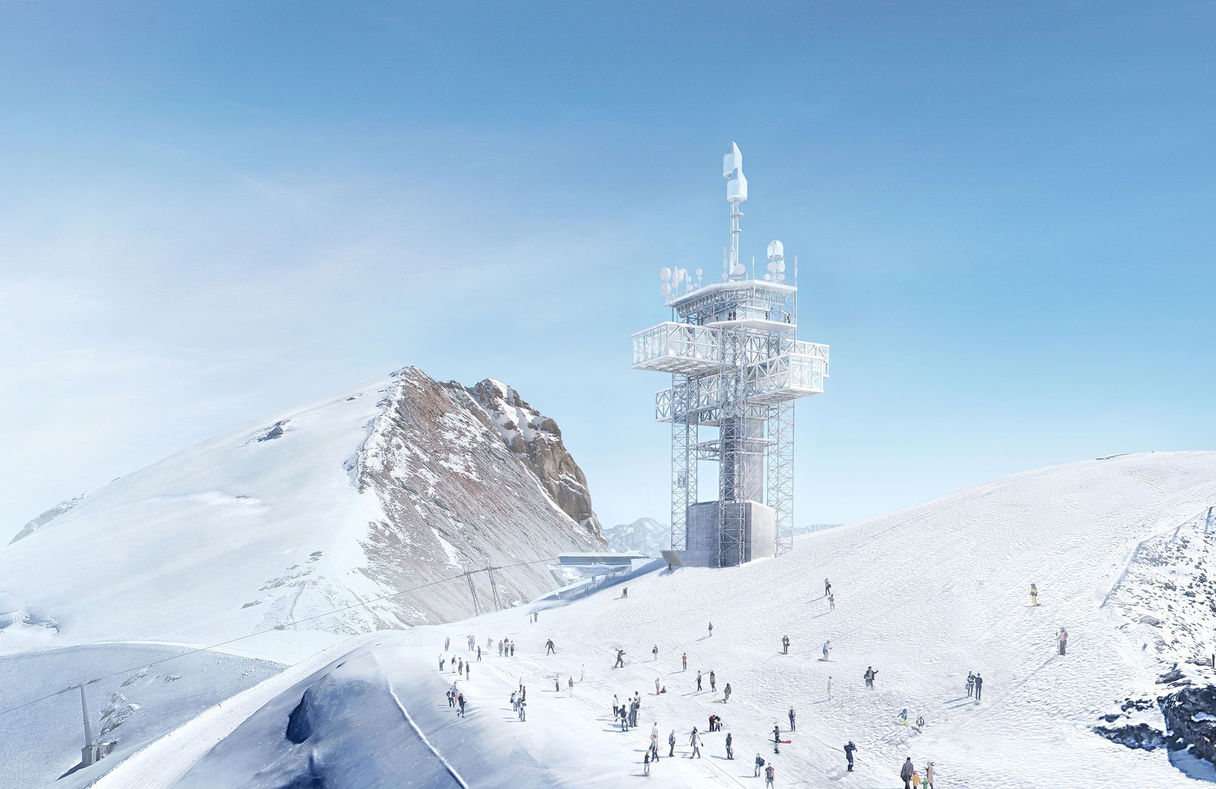 Umgebauter Richtstrahlturm auf dem Titlis, Visualisierung