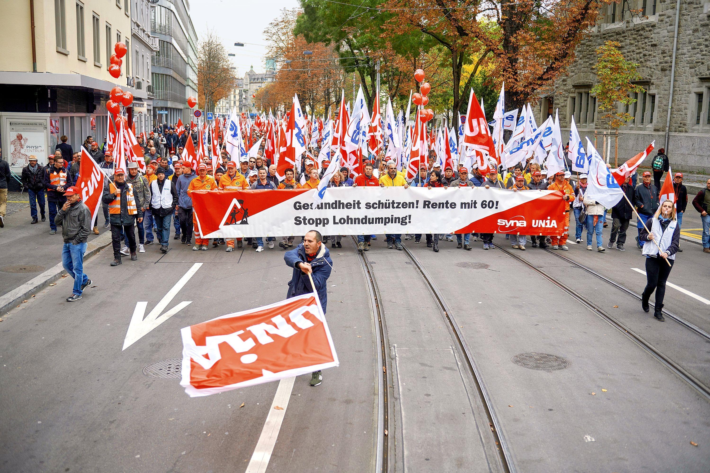 Unia-Demonstration in Zürich