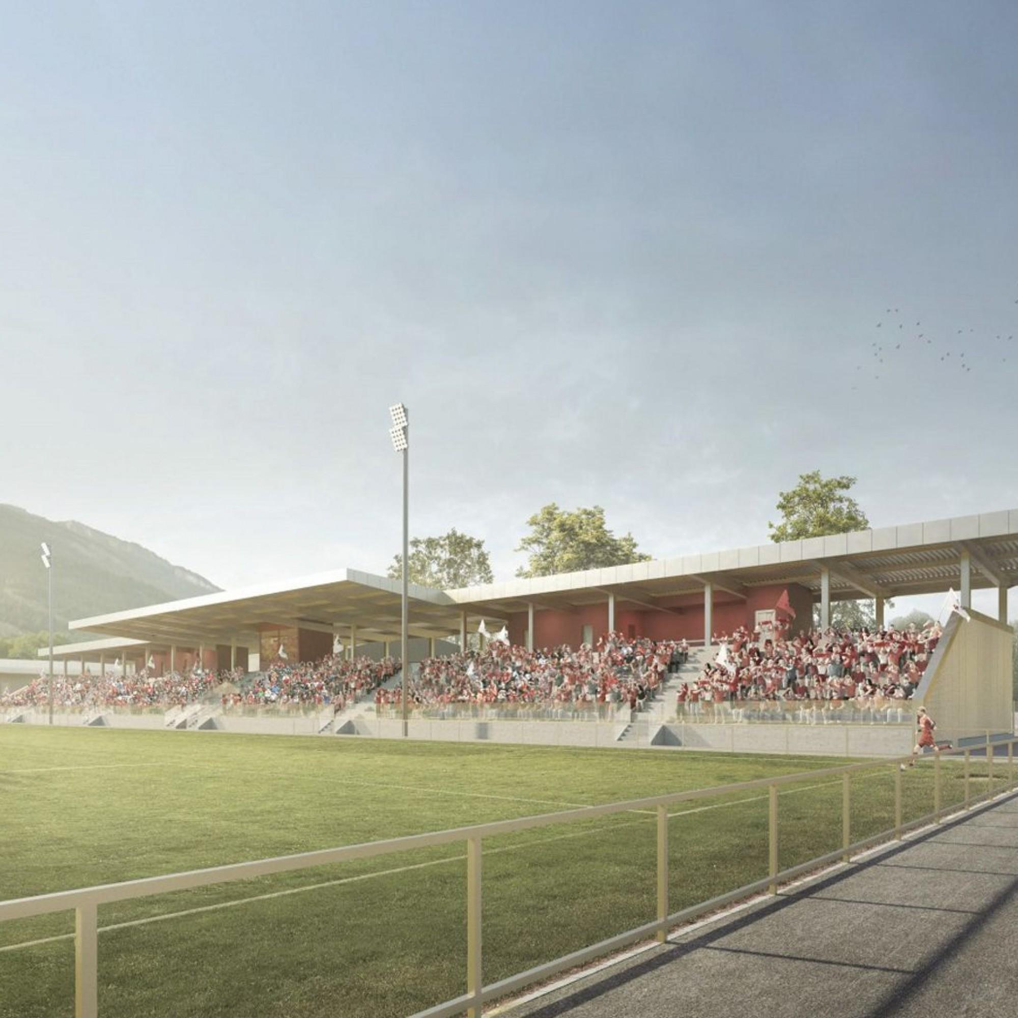 """So könnte das Fussballhauptfeld mit Tribüne in der """"Oberen Au"""" in Chur dereinst aussehen. Es ist ein Teilprojekt des Gesamtprojekts """"Eisball""""."""
