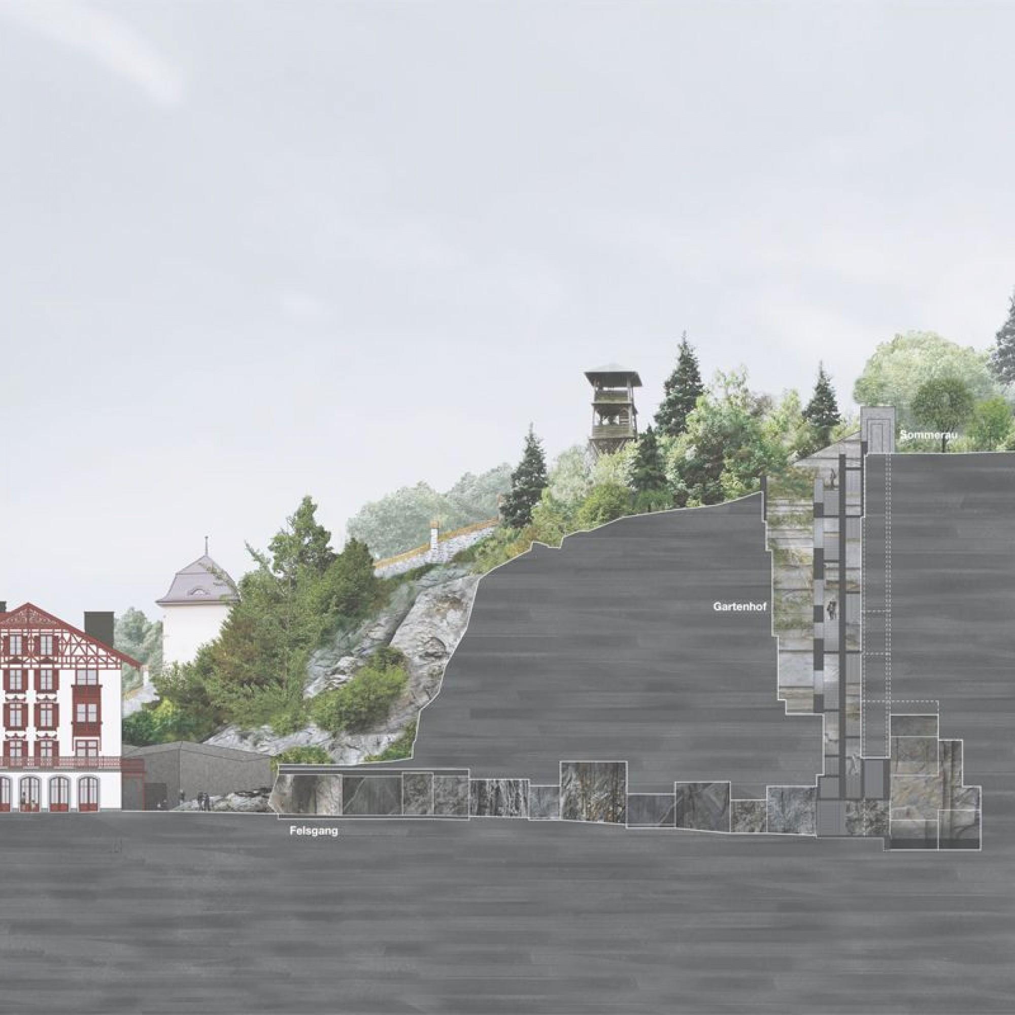 """Das Projekt """"Fels"""" für die Erweiterung des Luzerner Gletschergartens im Längsschnitt."""