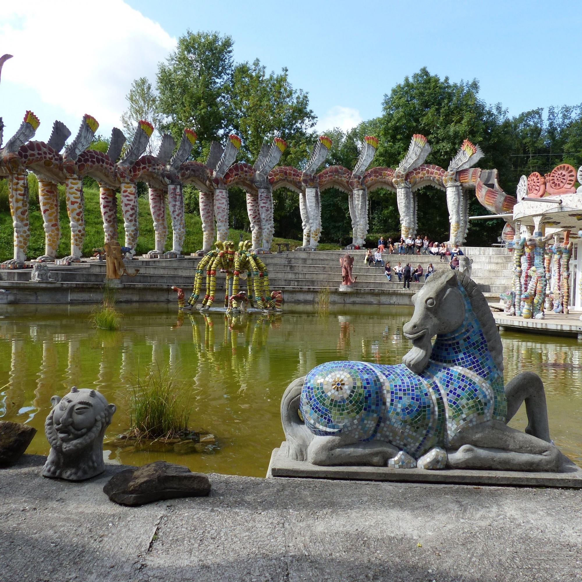 Wassergarten im Bruno-Weber-Park.