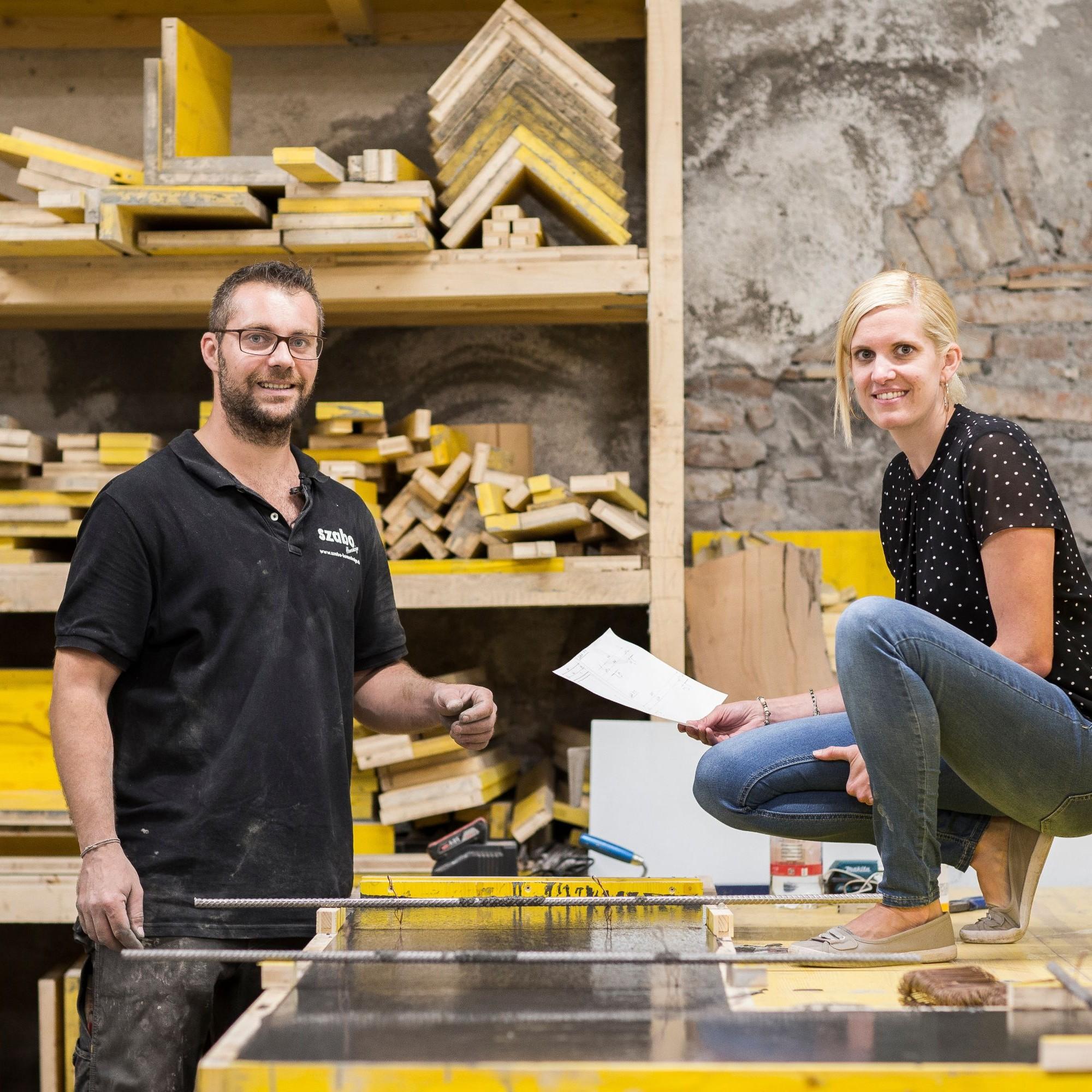 Nadja Winter und Laszlo Szabo in ihrer Betonmanufaktur in Näfels GL.