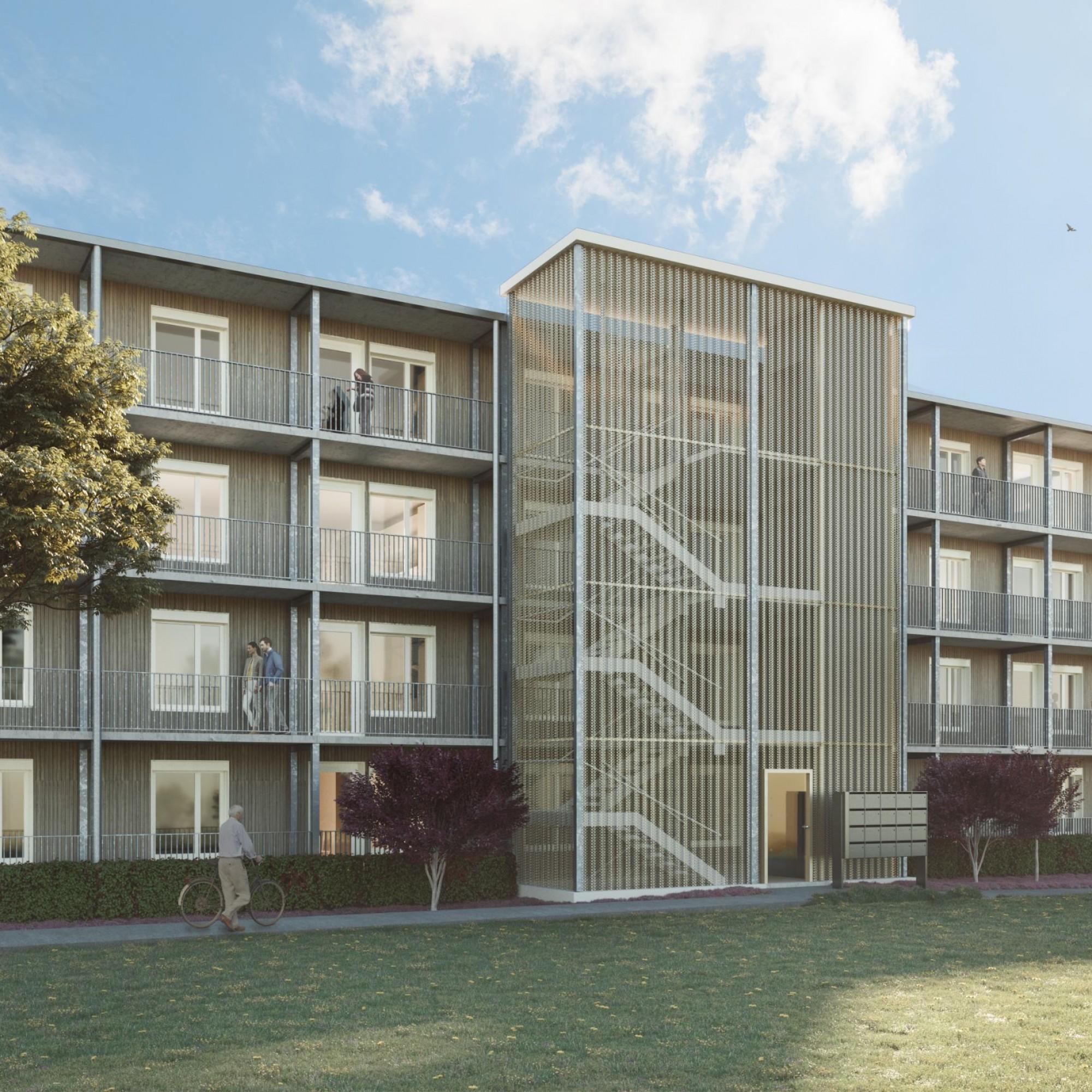 Visualisierung des Mehrfamilienhauses in Lenzburg, das später 20 Wohnungen bieten soll.