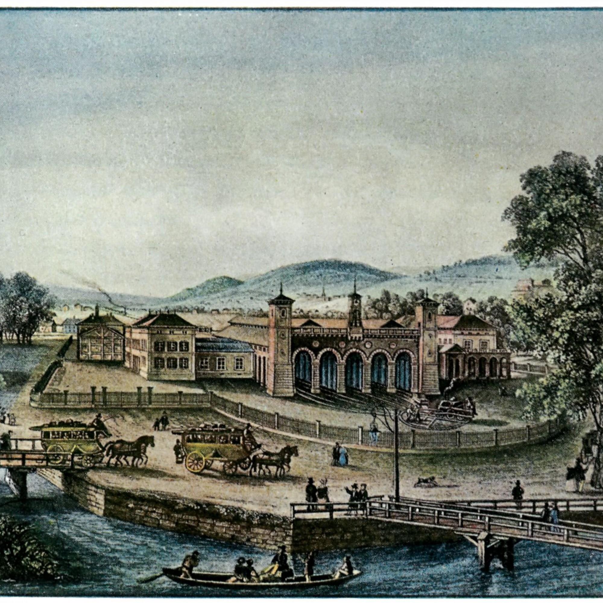 Der Hauptbahnhof Zürich hat sich zu Eschers Lebzeiten stark gewandelt: der erste HB bei der Eröffnung der «Spanisch-Brötli-Bahn» 1847...