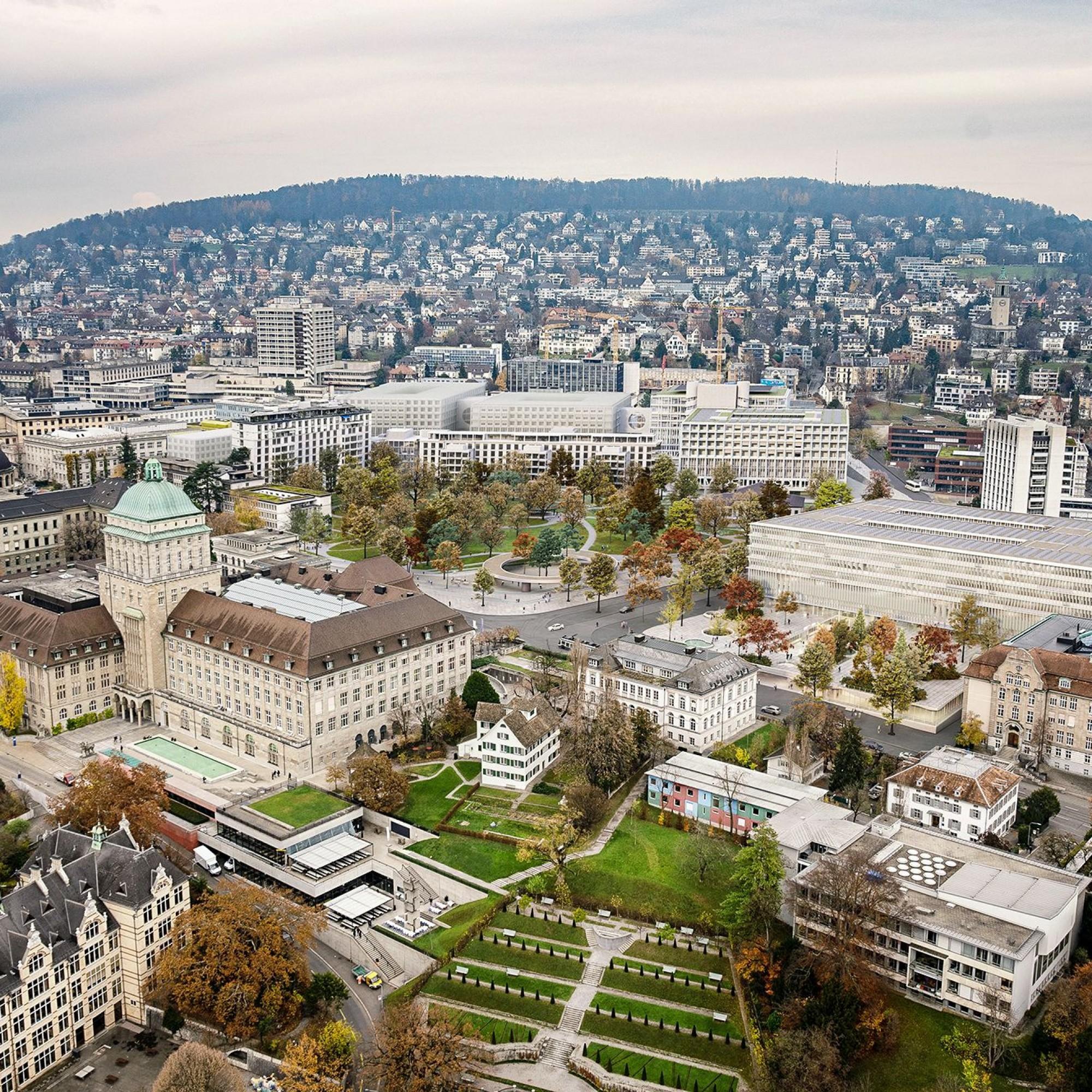 Hochschulgebiet Zürich,Vogelperspektive.