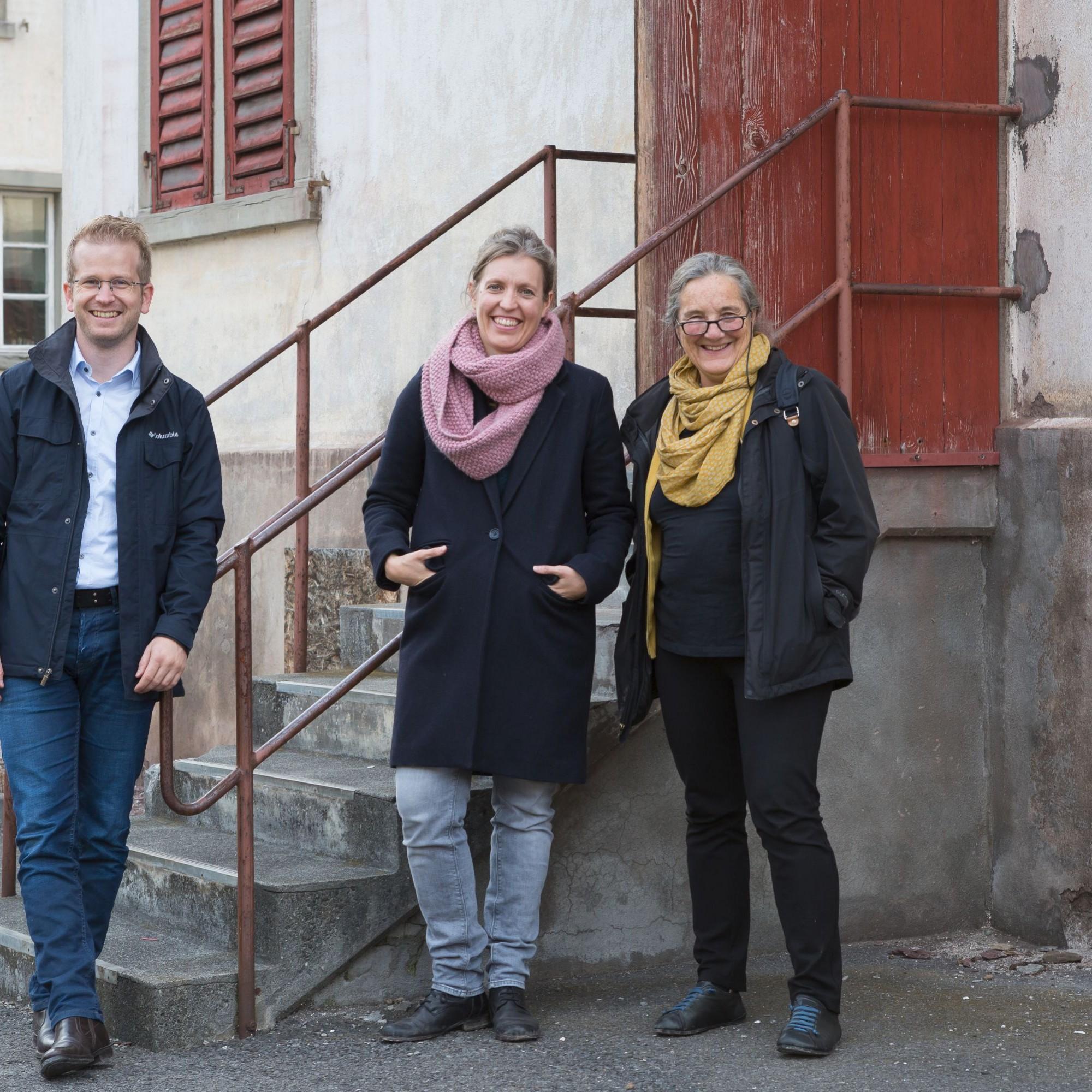 Projektinitianten aus Flums SG: Michel Eigensatz und Illona Schneider von Schneider Eigensatz Architekten mit Coach Barbara Buser