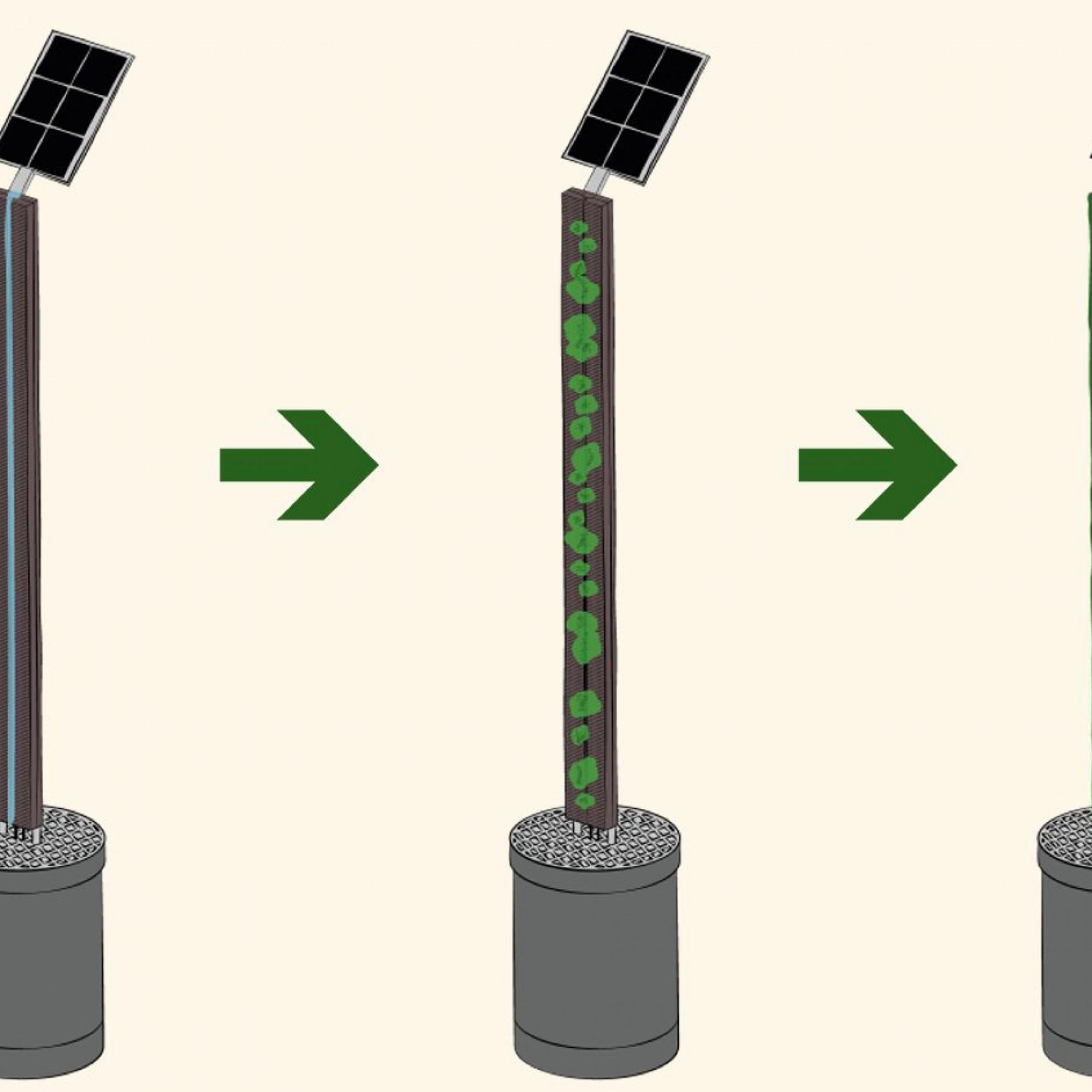 Illustration des selbstbegrünenden Bauelements. (Quelle:artificial-ecosystems.com)
