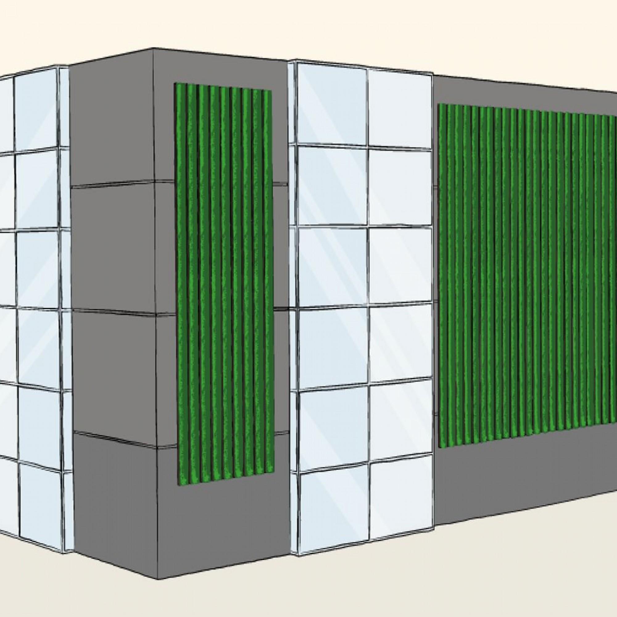 Die Fassade könnte laut dem Start-up auch bei Industrie- und Lagerhallen eingesetzt werden. (Quelle:artificial-ecosystems.com)