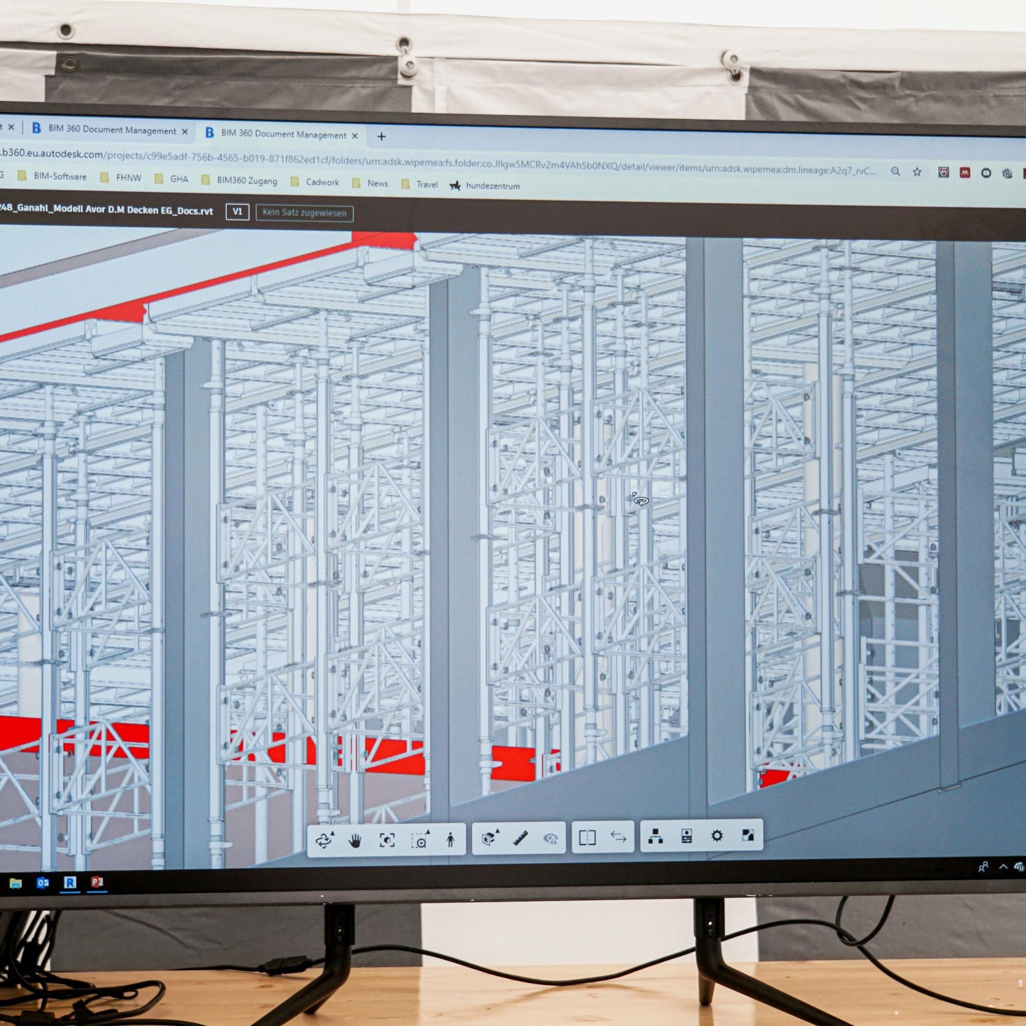 Das Modell der Deckenschalung für ein Stockwerk lässt erahnen, wie anspruchsvoll die modellbasierte Arbeitsvorbereitung für Polier Dominic Mozzetti ist.