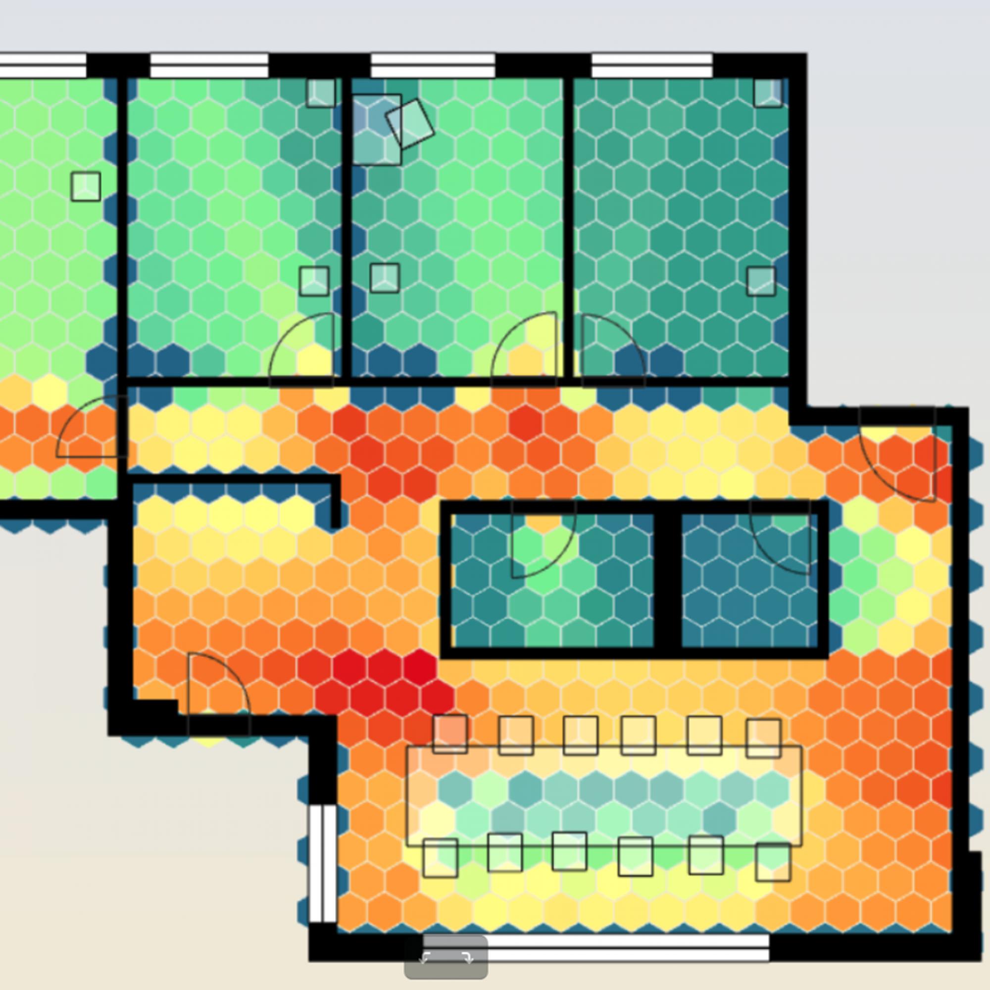 Die Heatmap zeigt den Isovist, ein Sichtbarkeitsmass, das zur Bewertung visueller Kontrollen sowie der Privatheit verwendet wird. Bei den roten Bereichen ist der Überblick besser, in «kälteren» dafür privater.