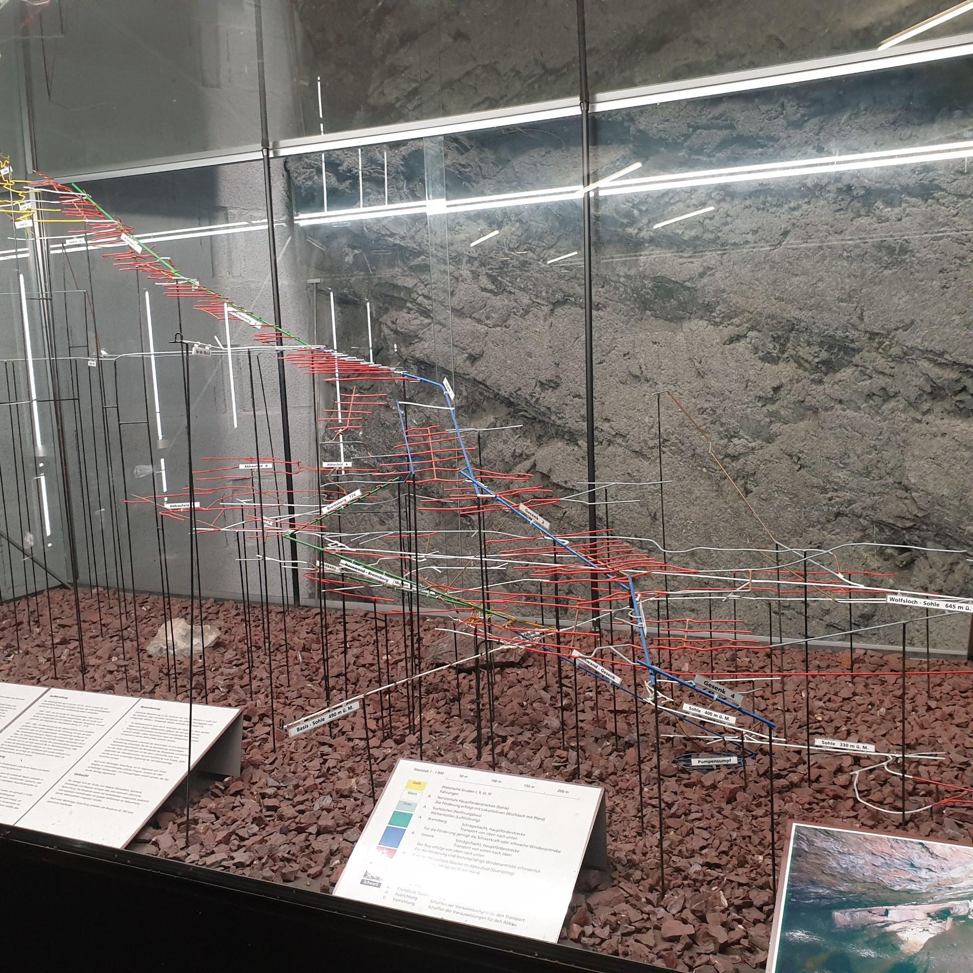 Am Eingang zum Gonzen-Bergwerk zeugt ein umfassendes Modell von der Grösse der gesamten Infrastruktur im Berg.