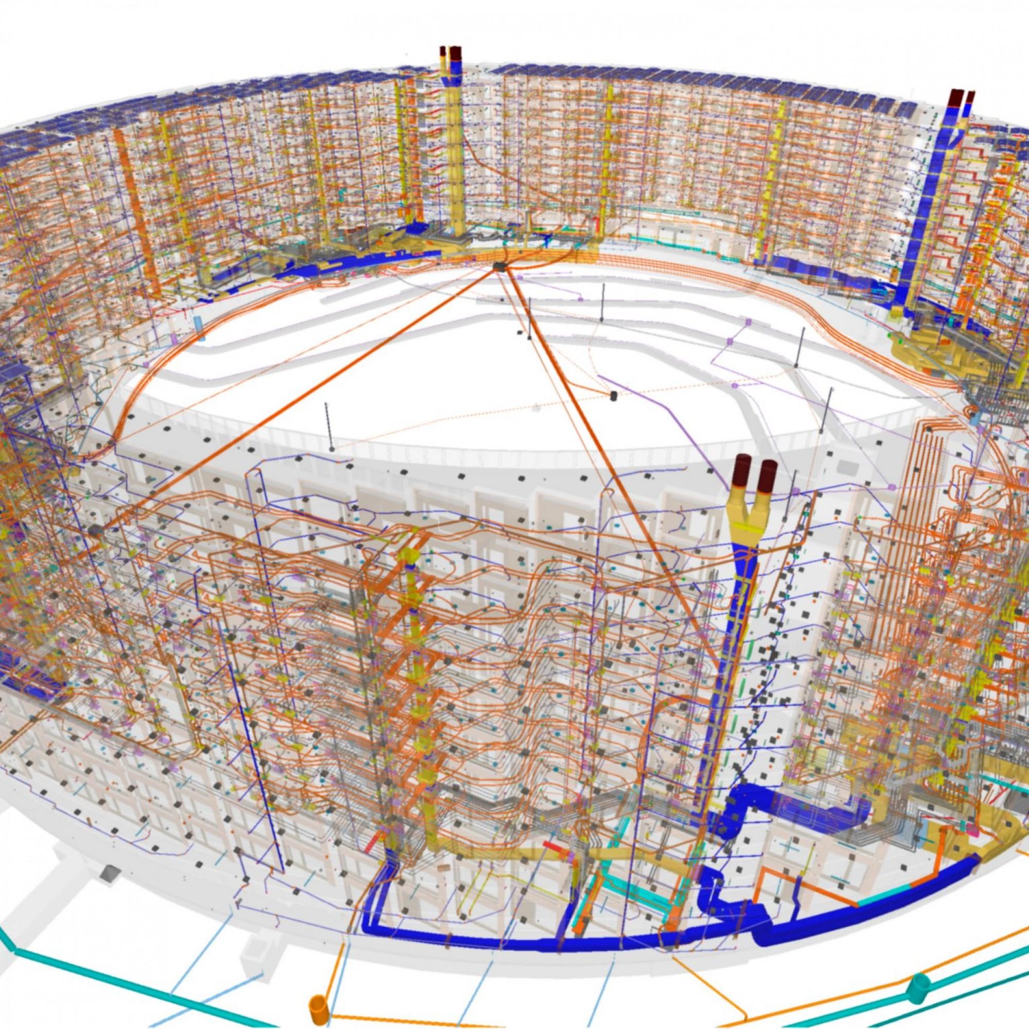 Der hochkomplexe bauliche Wirbel in der BIM-transparenten Version: Dank digitaler Planung kann der Totalunternehmer Losinger Marazzi die extrem kurze Bauzeit von genau 900 Tagen einhalten.
