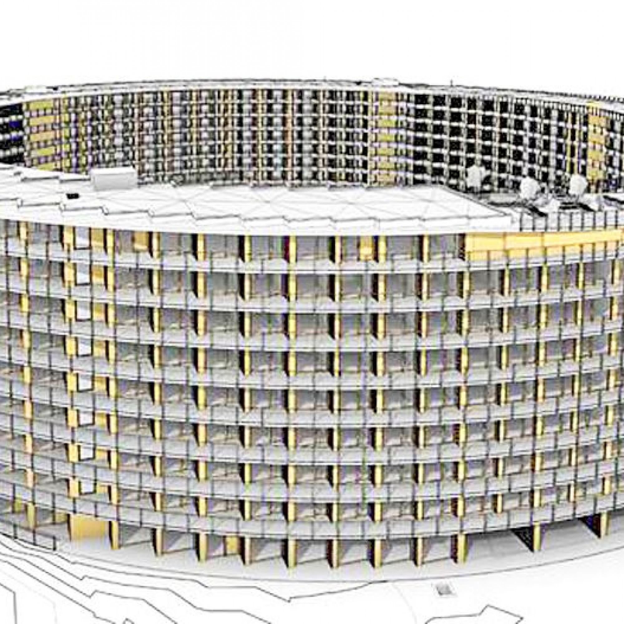 Das fertige Gebäude in einer Visualisierung: Neben den PV-Paneelen ist rechts die Dachterrasse zu sehen, die eine Caféteria aufweist und sich als Rampe sanft zum darunterliegenden Stockwerk neigt. Komplett ebene Flächen sind im aussergewöhnlichen Bau eine