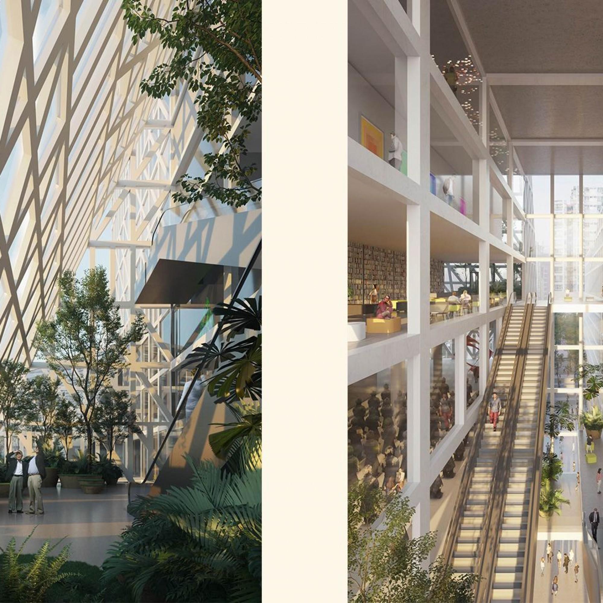 Der Innenbereich wird durch mehrere Grünräume geprägt und durch die Glasfassade offen für Tageslicht sein.