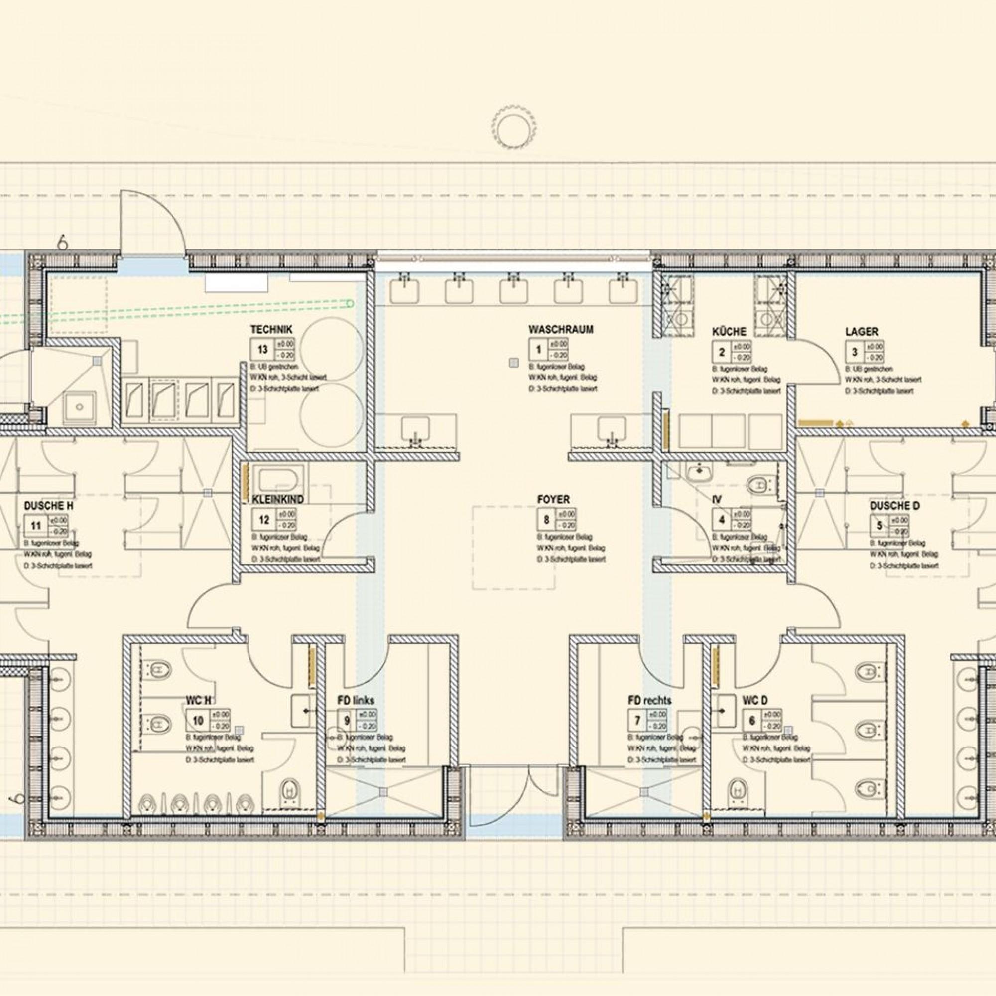 Der Grundriss des neuen Sanitärgebäudes zeigt einen streng symetrischen Aufbau.