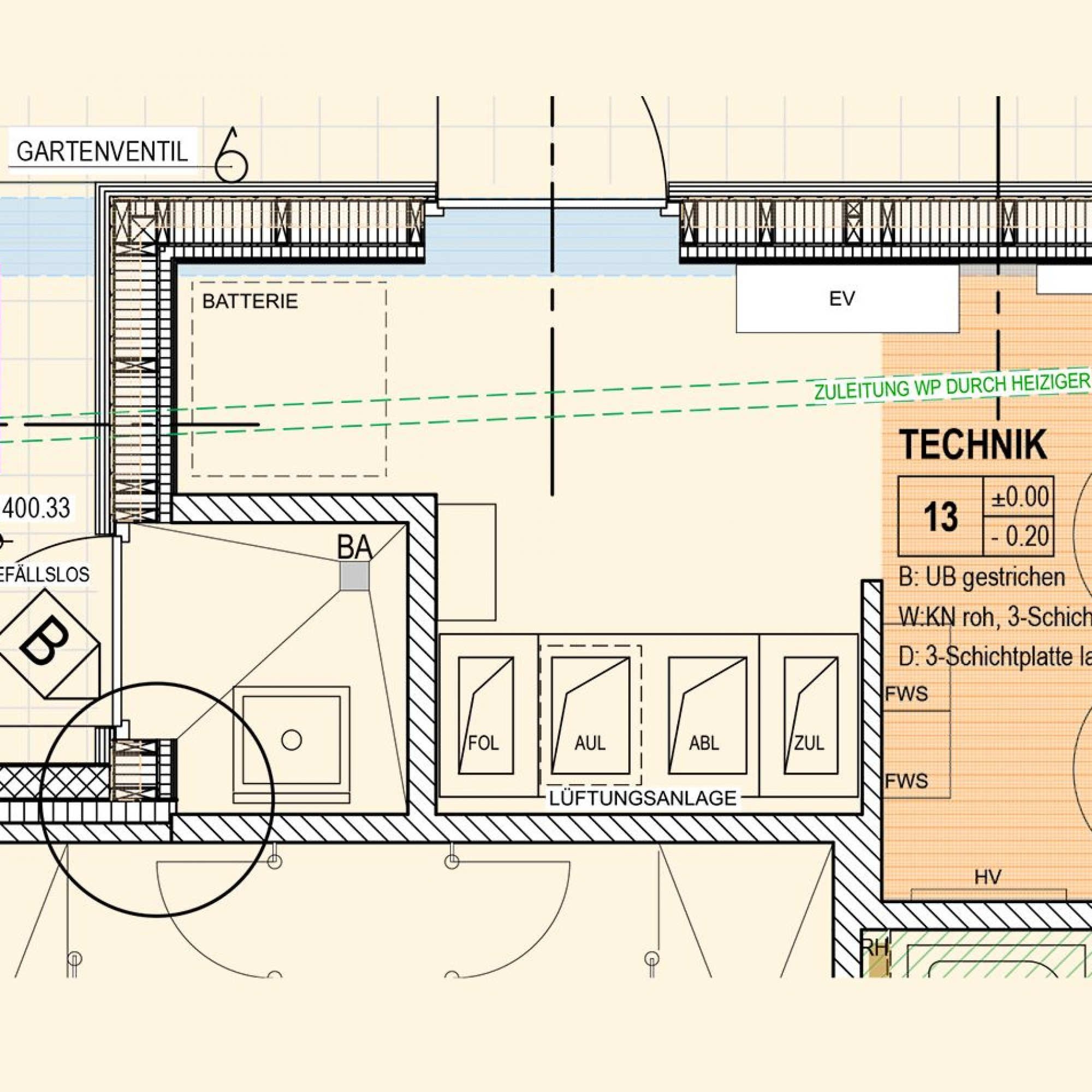 Im Technikraum sind nicht nur grosse Warmwasserspeicher untergebracht, hier lässt sich auch eine Speicherbatterie unterbringen.