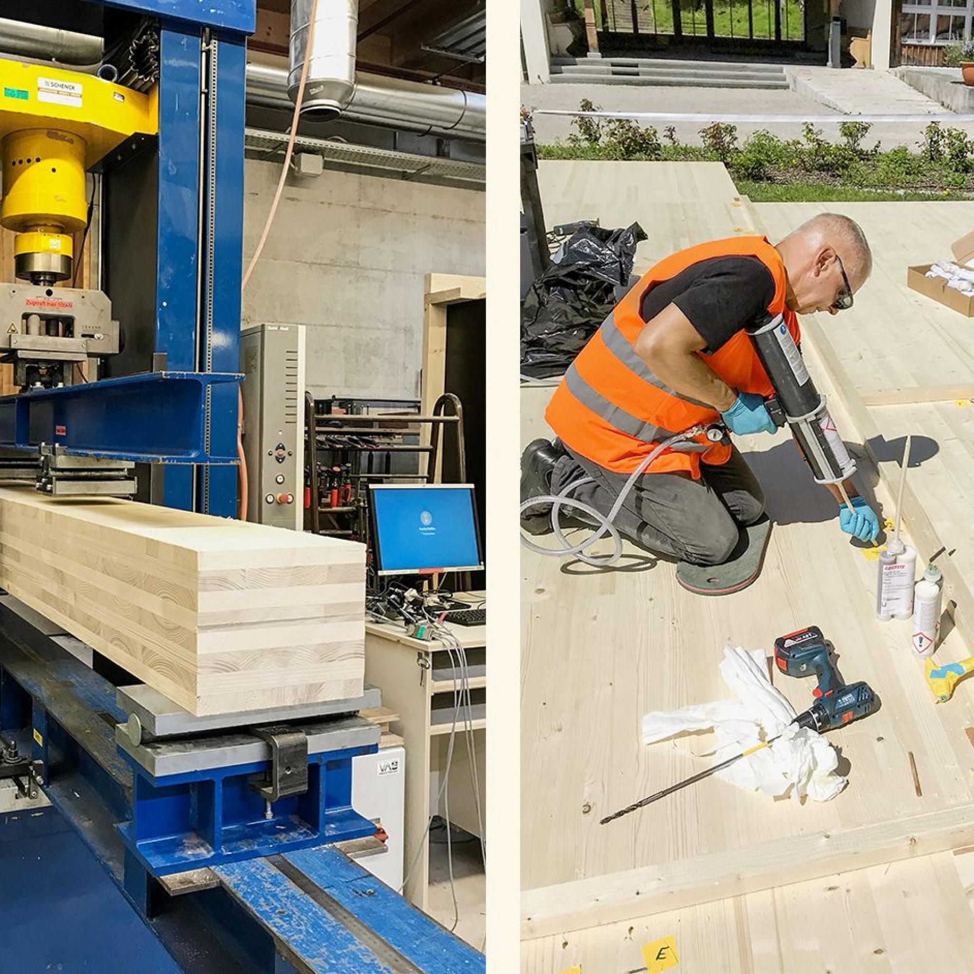 Biegeprüfung der Fuge der angeklebten Balkonplatte anhand eines 20 Zentimeter breiten Streifens (links). Verguss der abgedichteten Fuge der Deckenplatten (rechts).