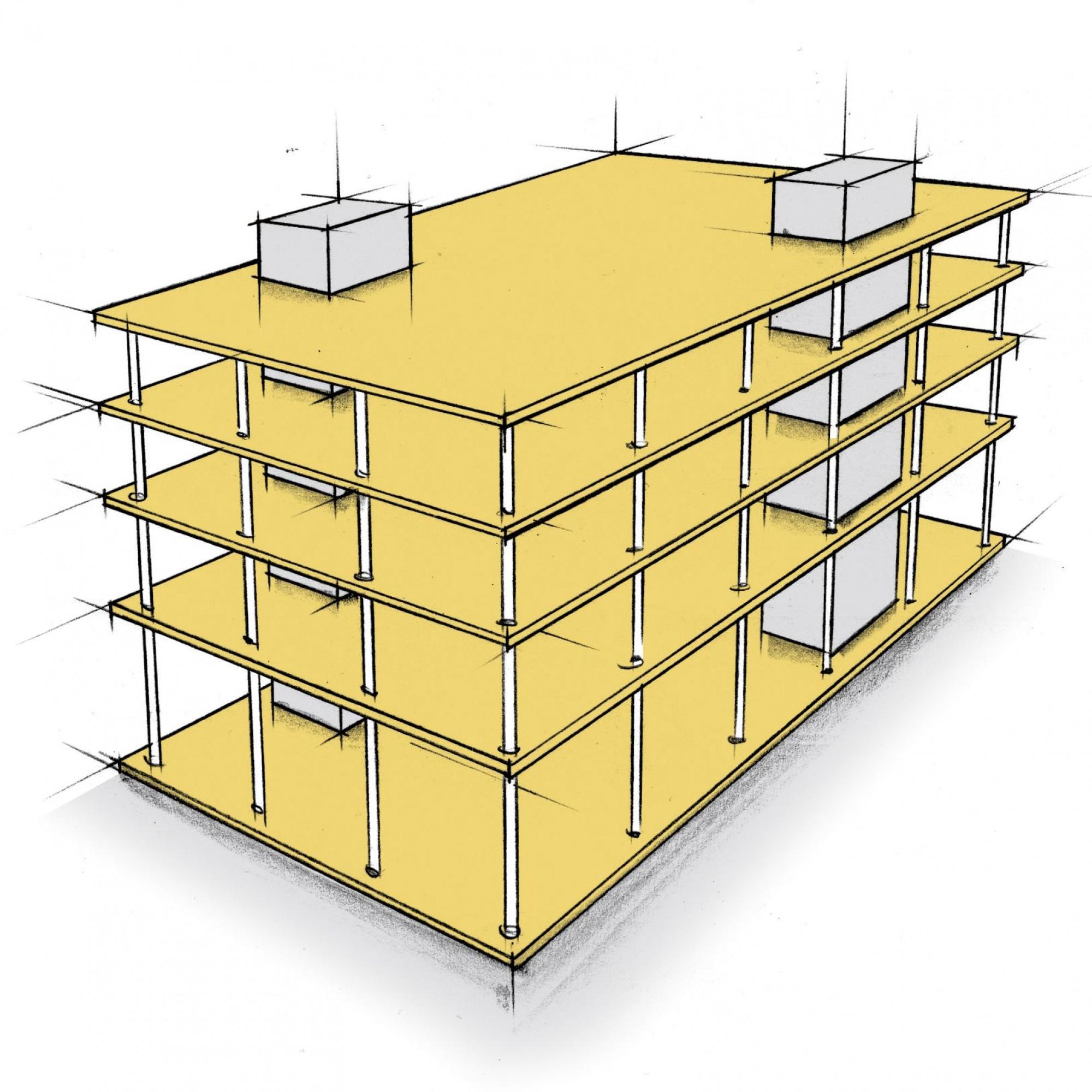 Die neuen Technologien ermöglichen es, flächig tragende Bauteile aus Holz für Geschossdecken zu bauen.