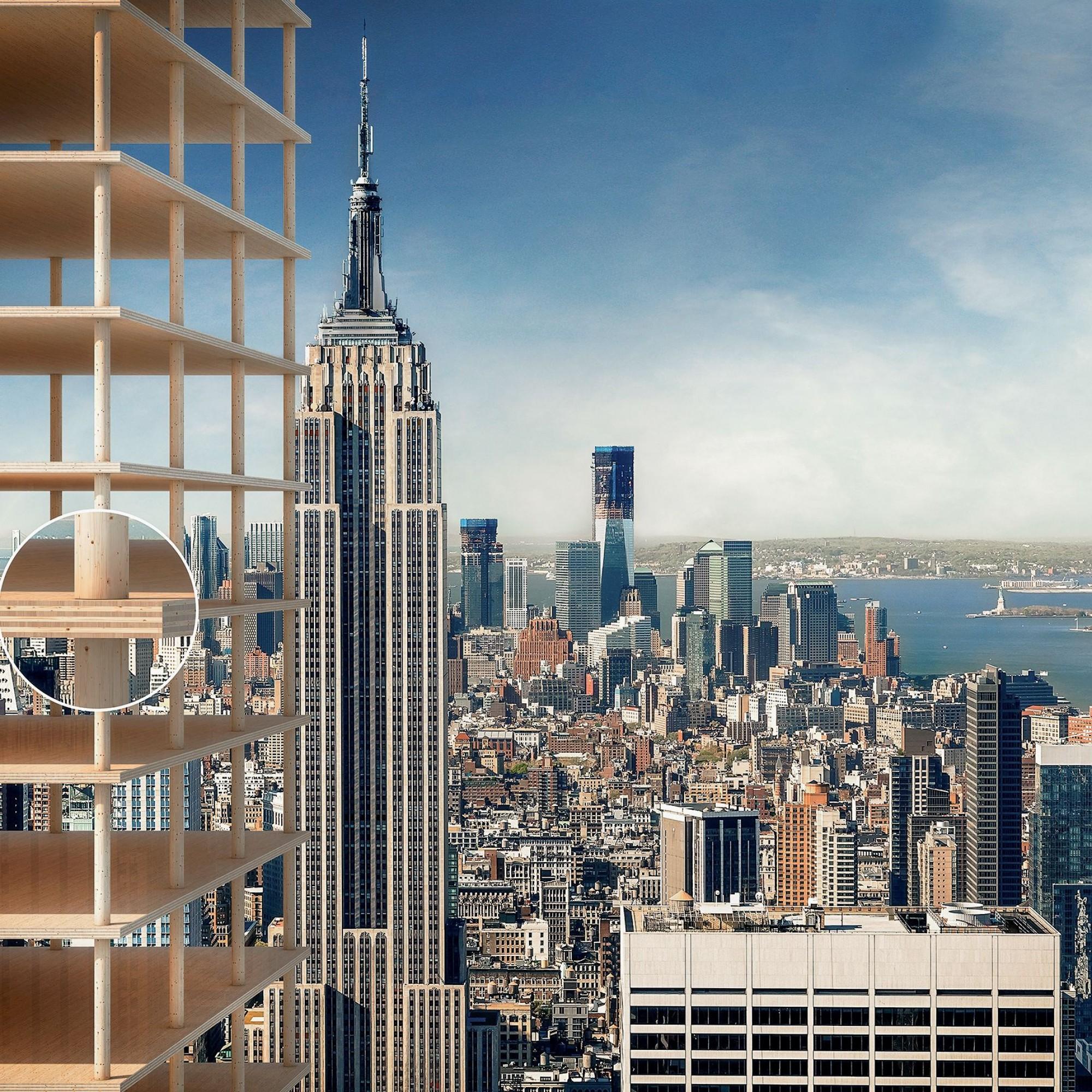 Sogar Hochhäuser aus Holz sind mit der neuartigen TS3-Technologie möglich. Die vertikalen Lasten werden direkt auf die Stütze abgeleitet.
