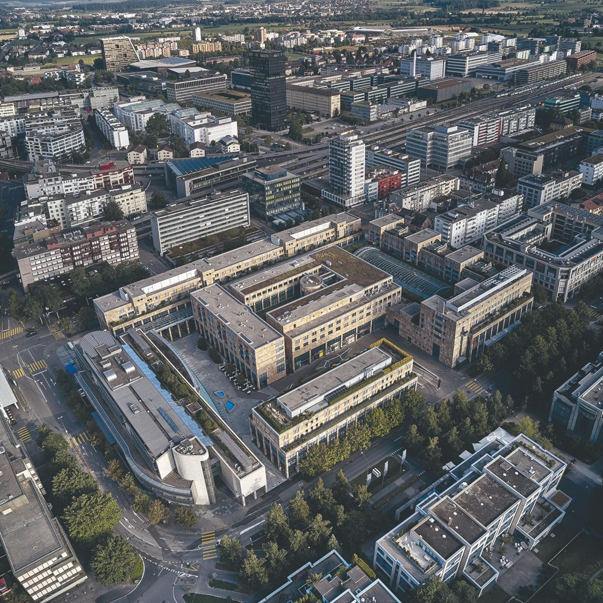 Luftaufnahme des «Metalli»-Areals in Zug.