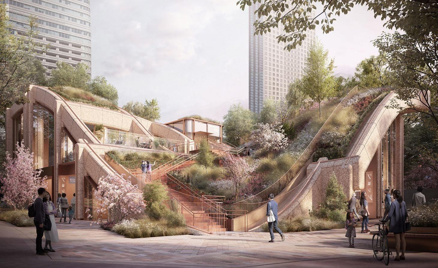 Der öffentliche Bereich und die Gebäude auf den unteren Ebenen stammen aus der Feder des britischen Heatherwick Studios.