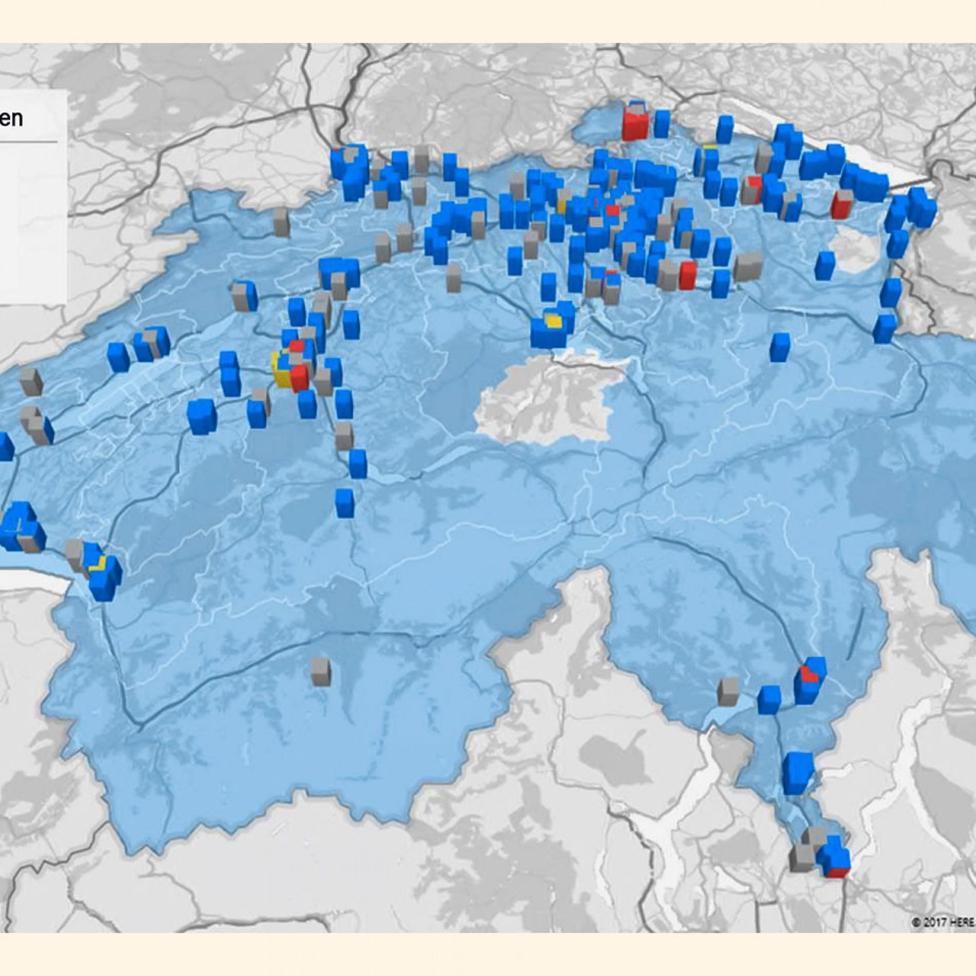 Die 500 in der Studie untersuchten Liegenschaften verteilen sich auf 300 Gemeinden in der ganzen Schweiz. Es handelt sich vorwiegend um mittlere und grössere Wohnbauten. Einfamilienhäuser und öffentliche Gebäude sind im Gebäudesample der Studie nicht enth