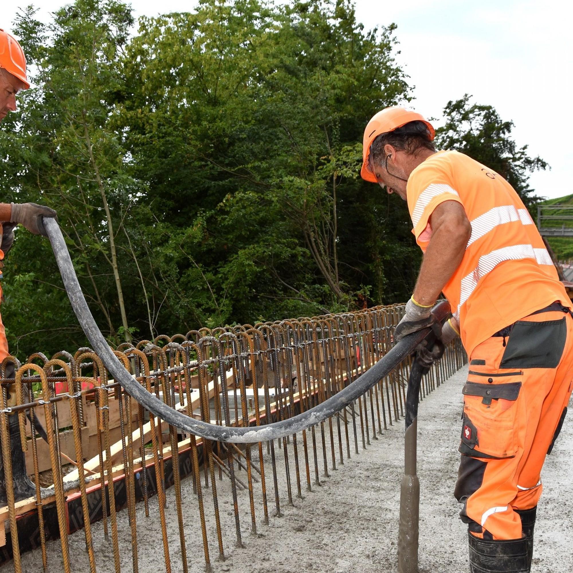 Betonierarbeiten im Rahmen des Pilotprojekts.