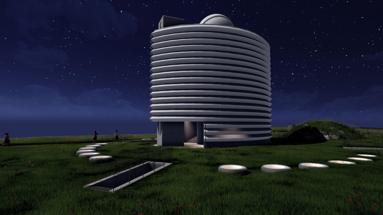 Visualisierung der Sternwarte bei Nacht.