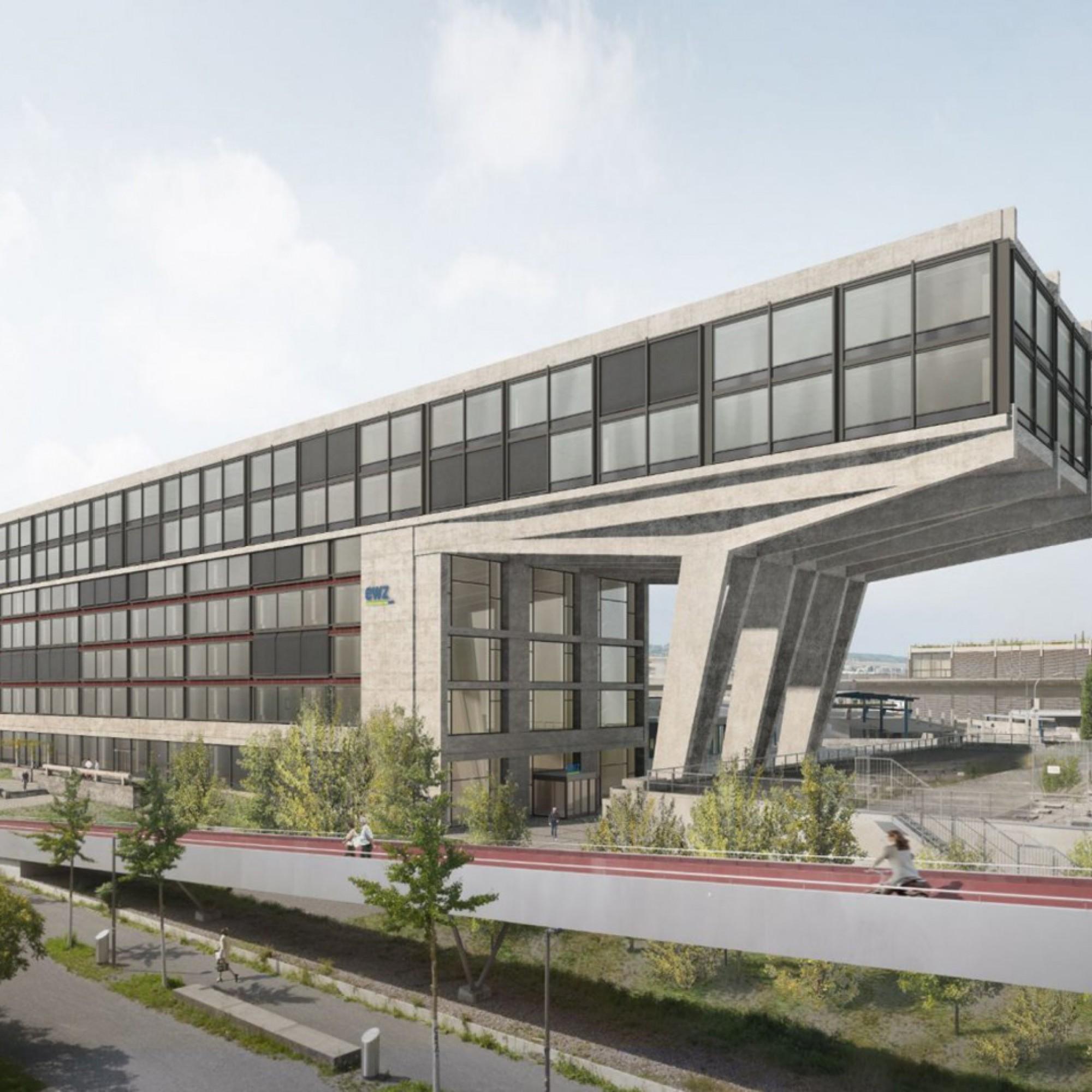 Visualisierung Bürogebäude Herdern Ost.