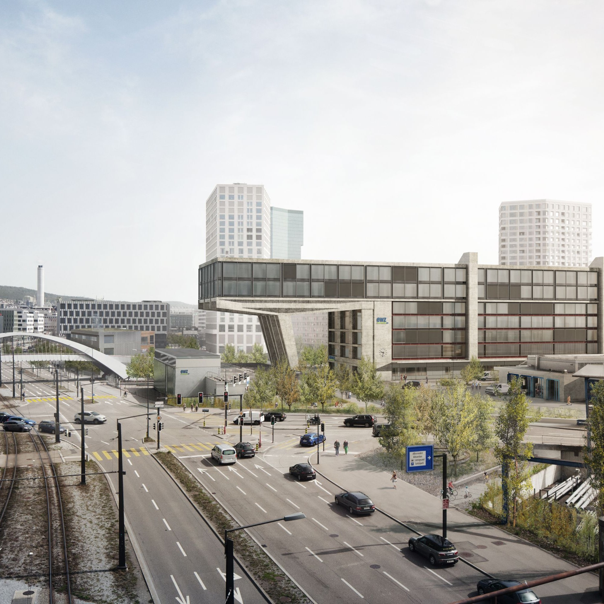 Visualisierung Bürogebäude Herdern West.