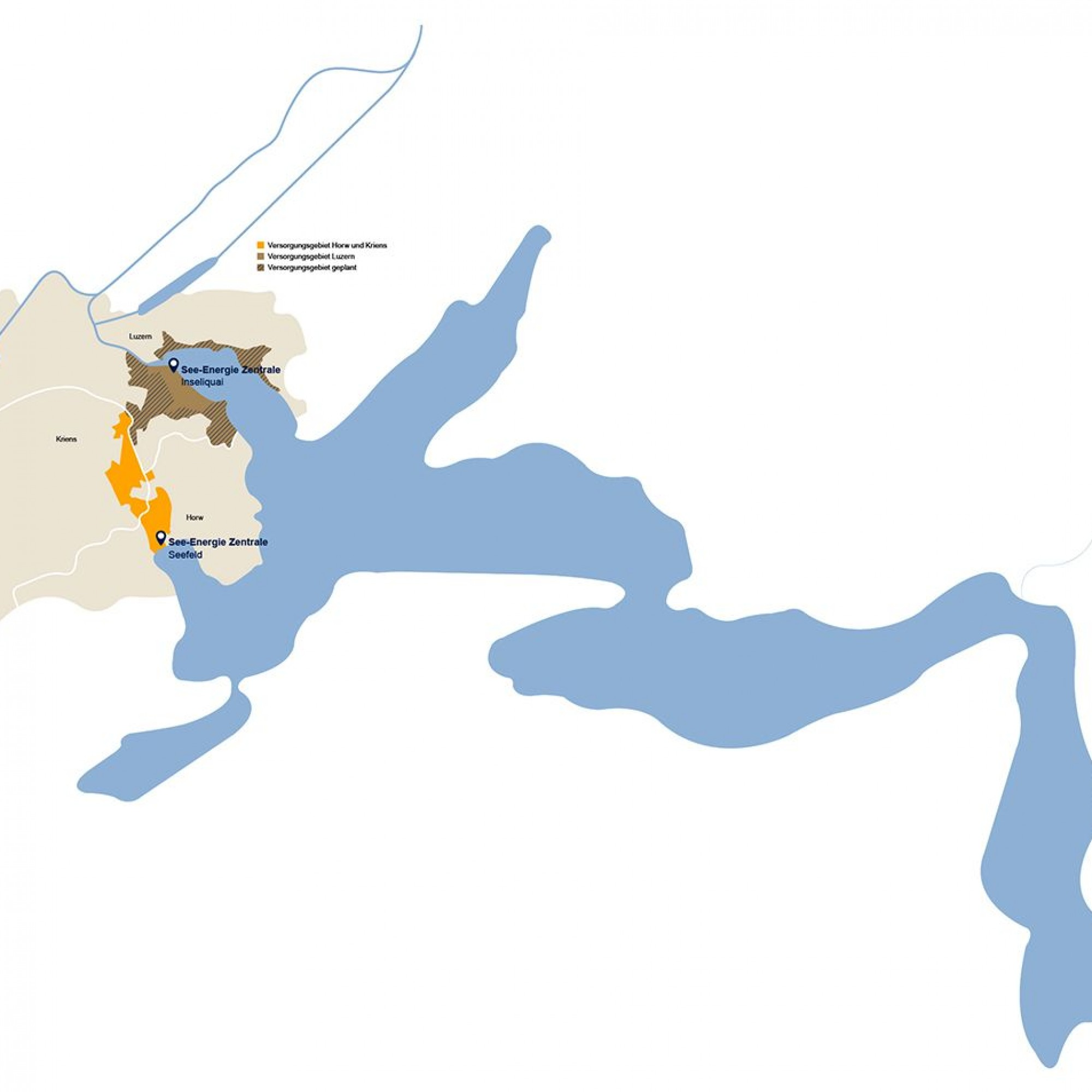 Die Karte gibt eine Übersicht, welche Flächen EWL in Horw, Kriens und Luzern künftig mit See-Energie versorgen will.»