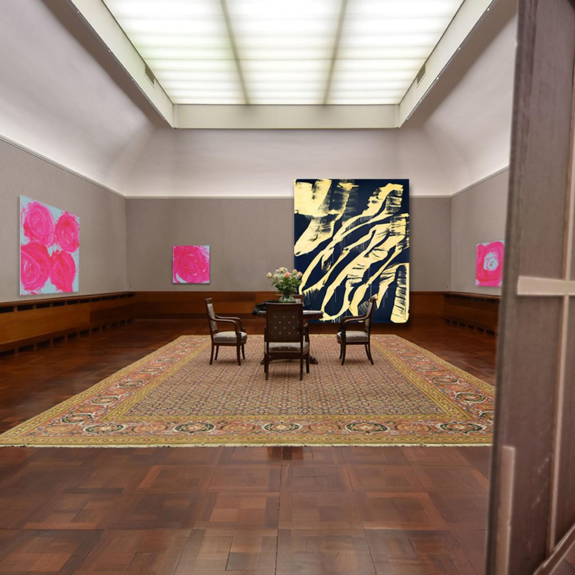 Der Galerietrakt der Villa Langmatt mit Bildern von Renée Levi, die noch bis am 12. Dezember ausgestellt sind.