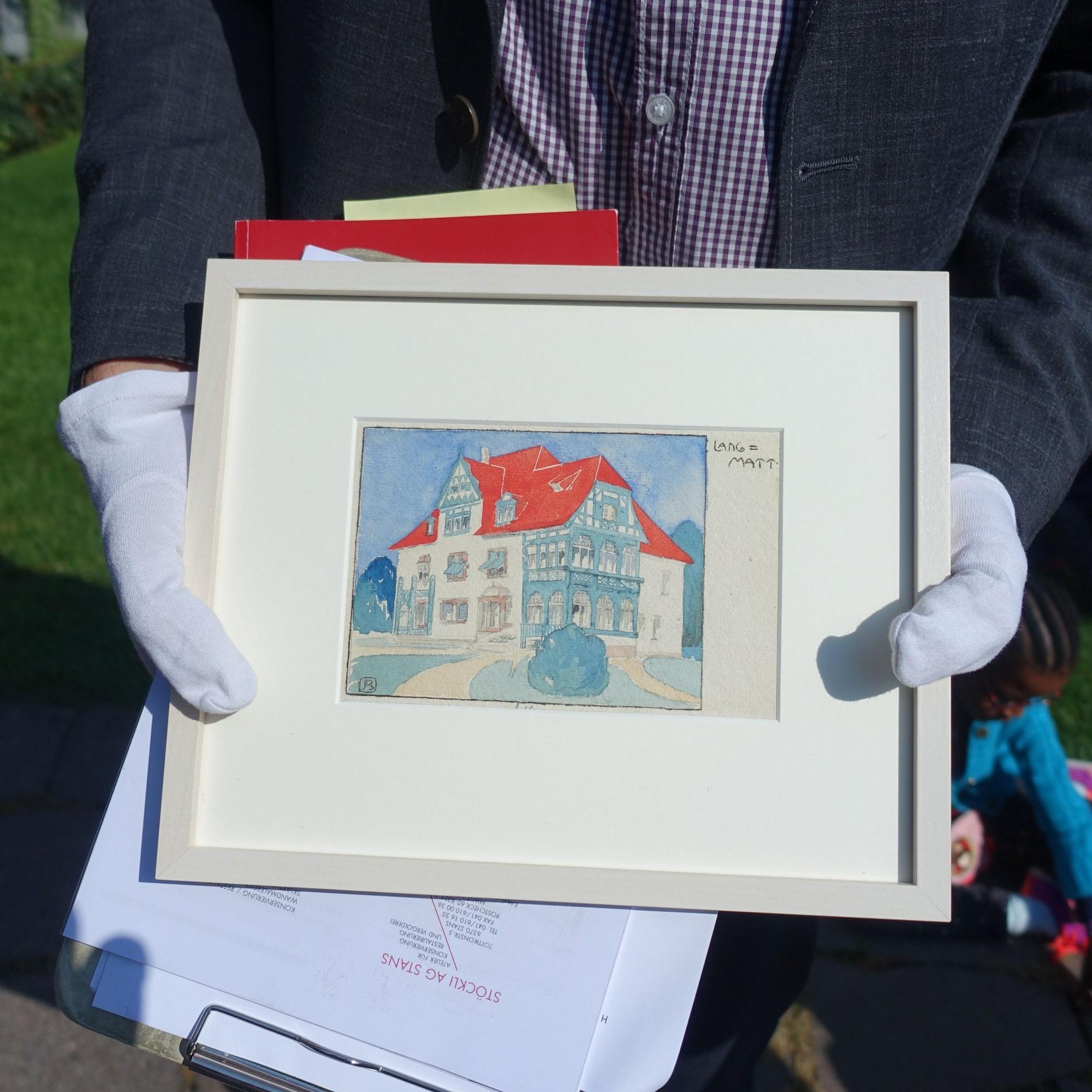 Ein Aquarell der Bauherrin belegt die Farbgebung des Hauses zur Ursprungszeit. Daran wird man sich bei der Restaurierung orientieren.