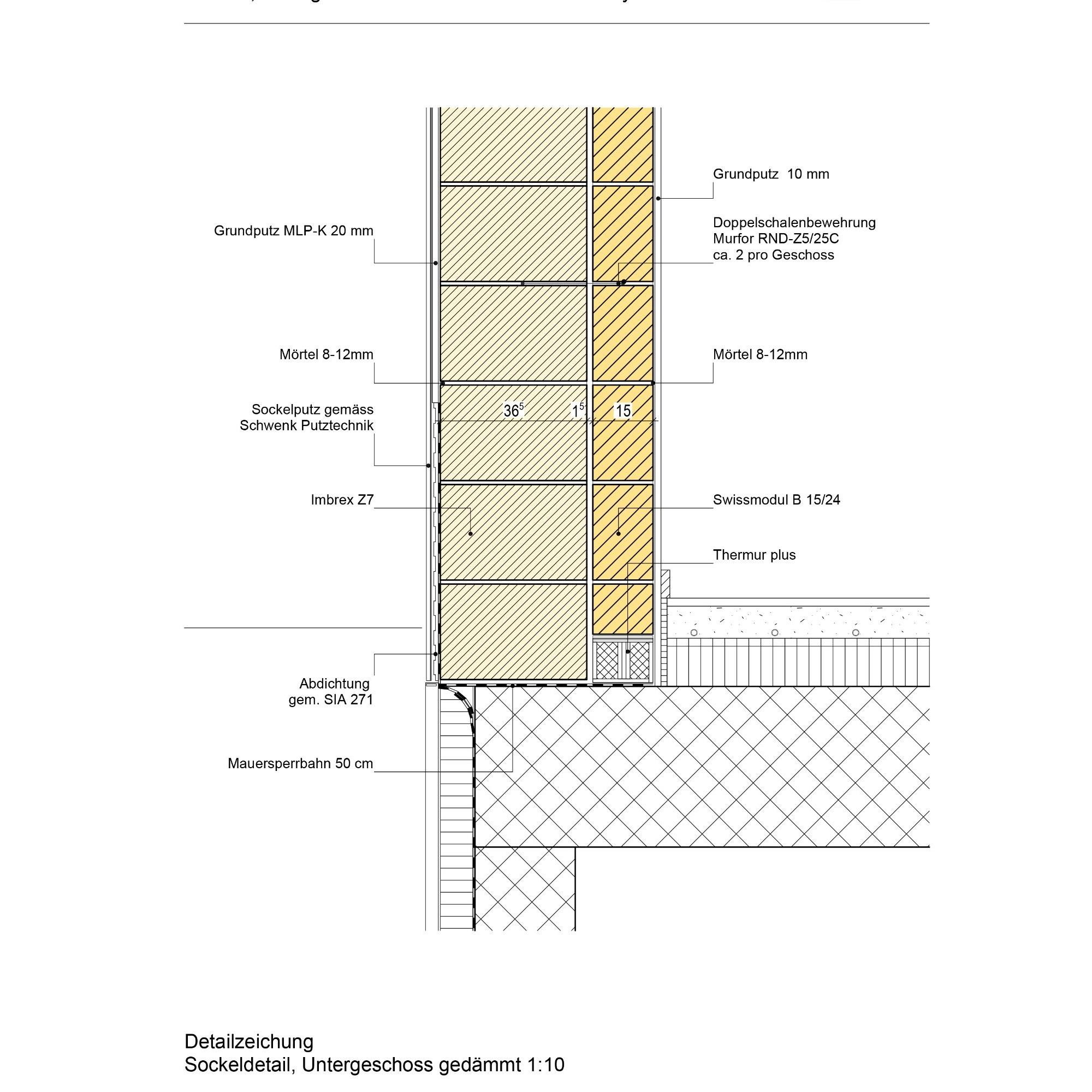 Sockeldetail, schematische Darstellung.