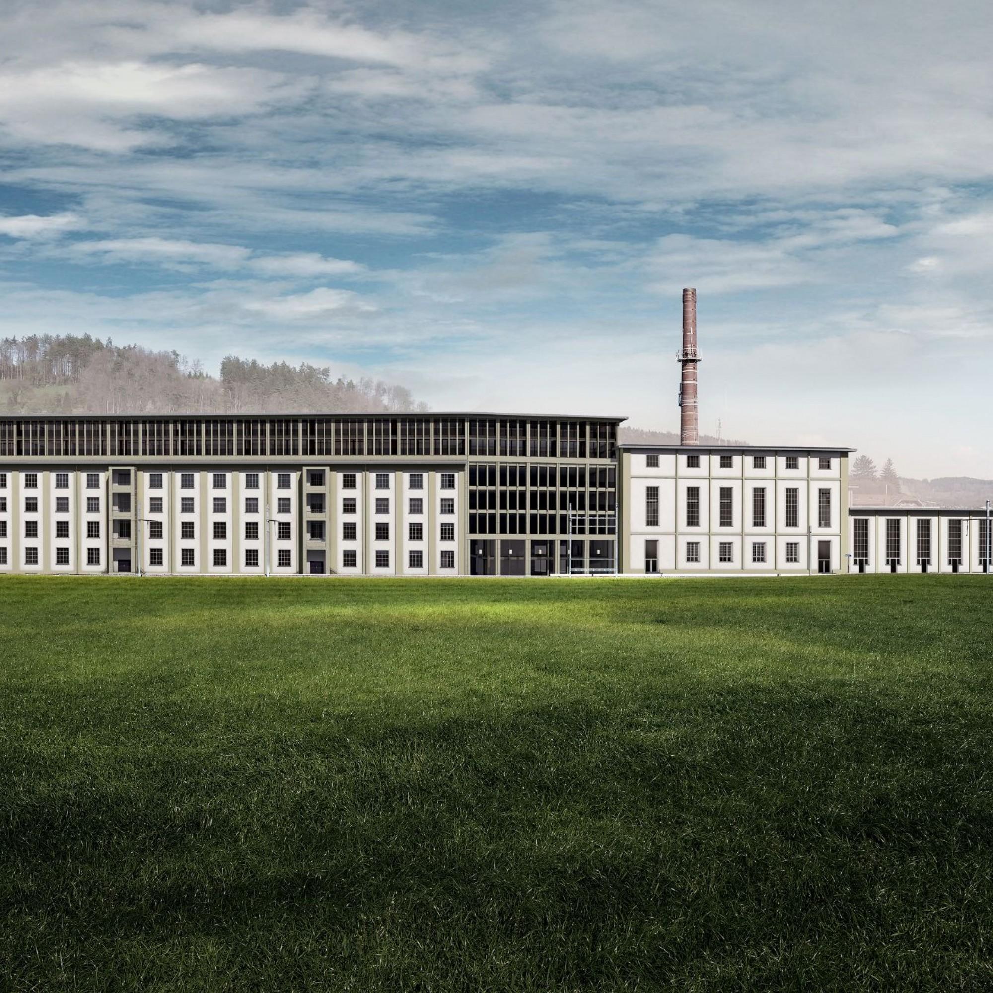 Die Ansicht von Westen zeigt eine harmonische Kombination alter und neuer Baukörper.