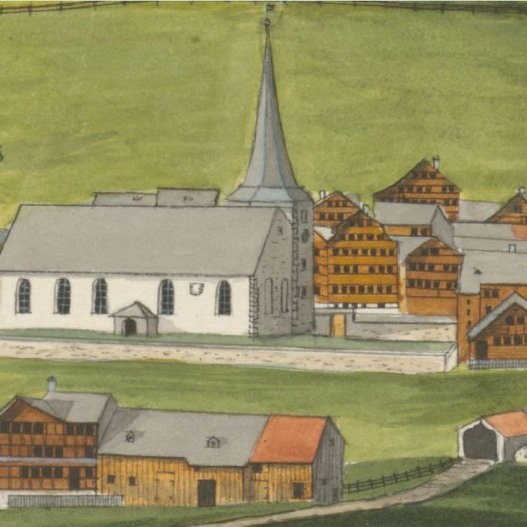 Ein Bildausschnitt eines Gemäldes von Johann Ulrich Fitzi 1837 zeigt den alten Friedhof von Urnäsch.