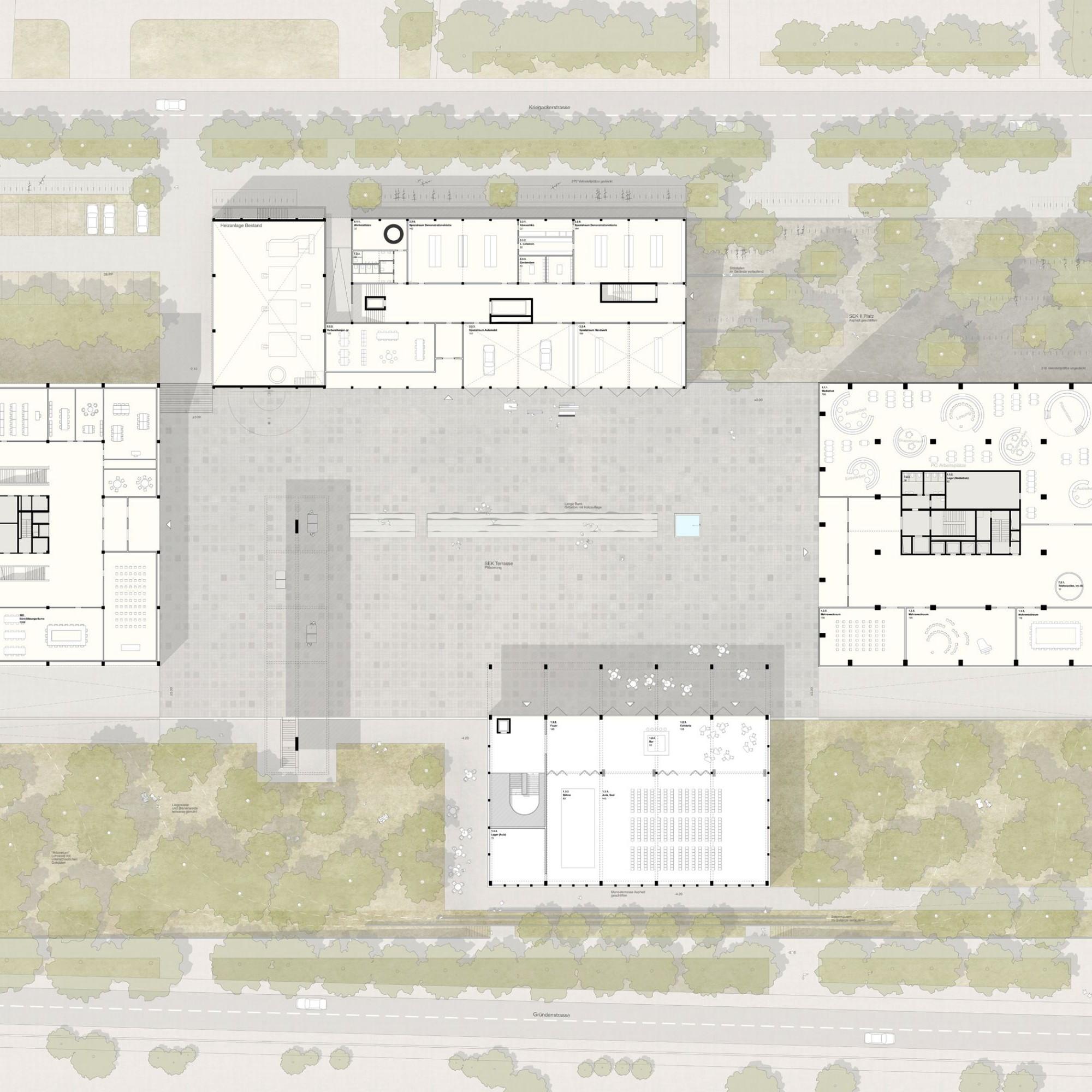 Die Eingriffe in den Bestand konzentrieren sich auf die Nordseite und die zentrale Platzfläche.