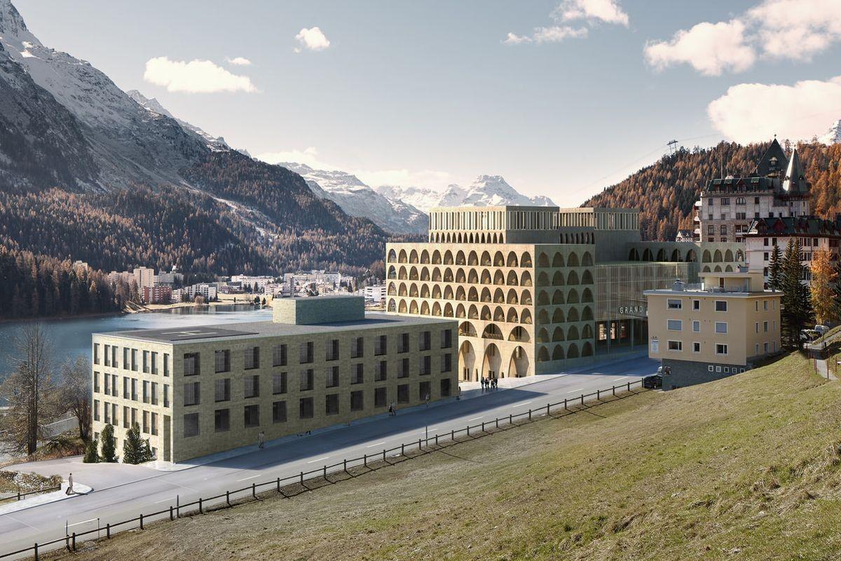 Visualisierung Serletta Süd: Klinik Gut (links) und das neue Gesundheitshotel (Mitte).