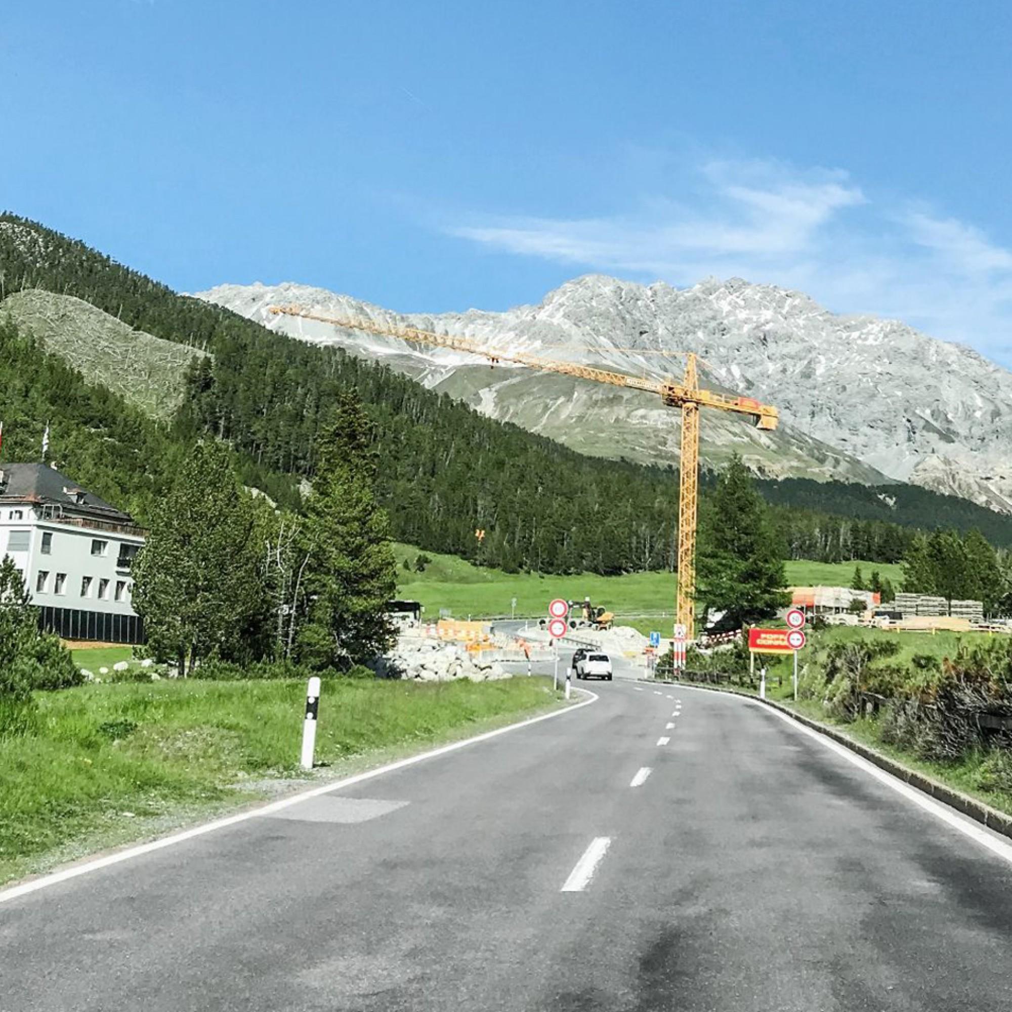 Baustelle zwischen Zernez und Müstair