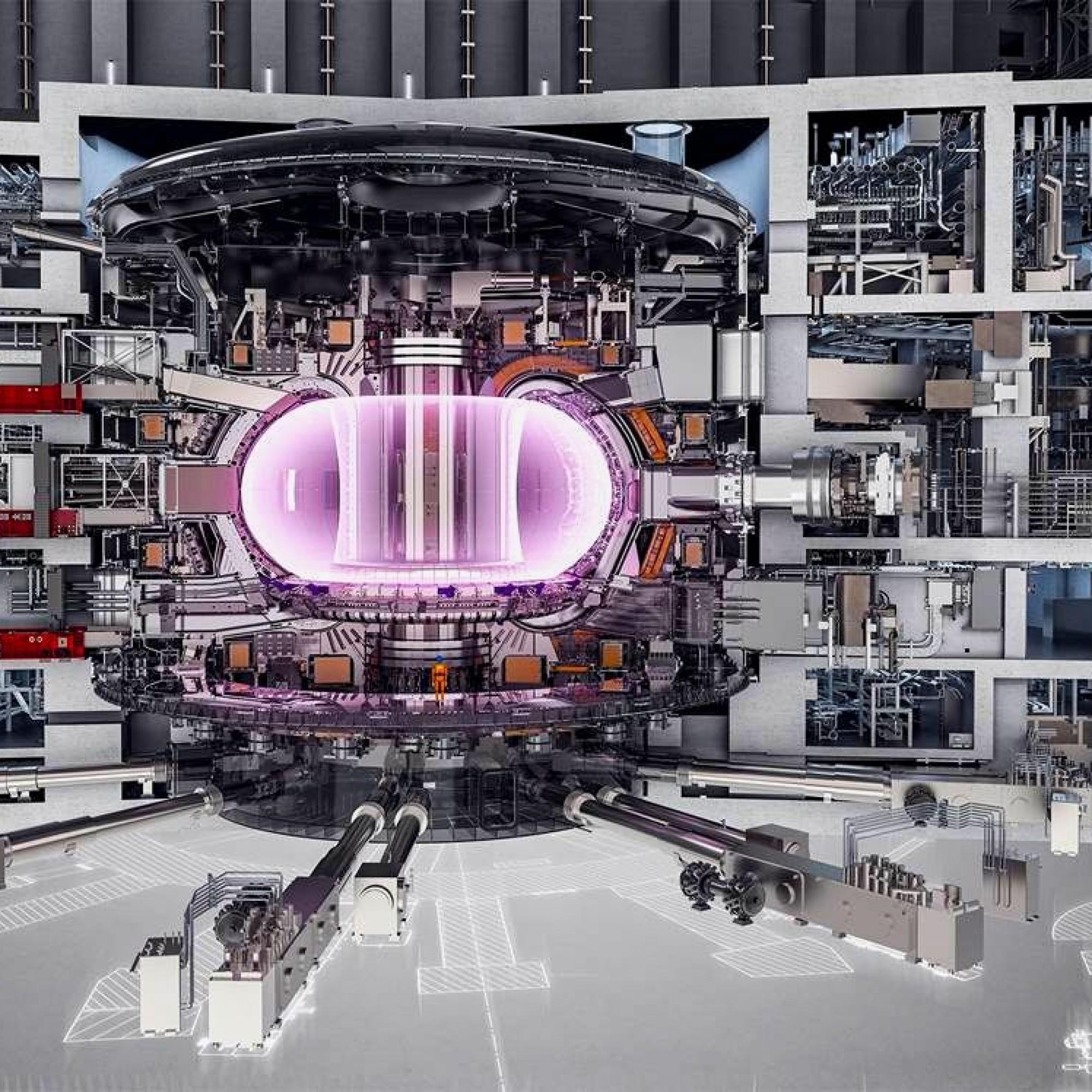 Schnitt durch den Tokamak-Fusionsreaktor.