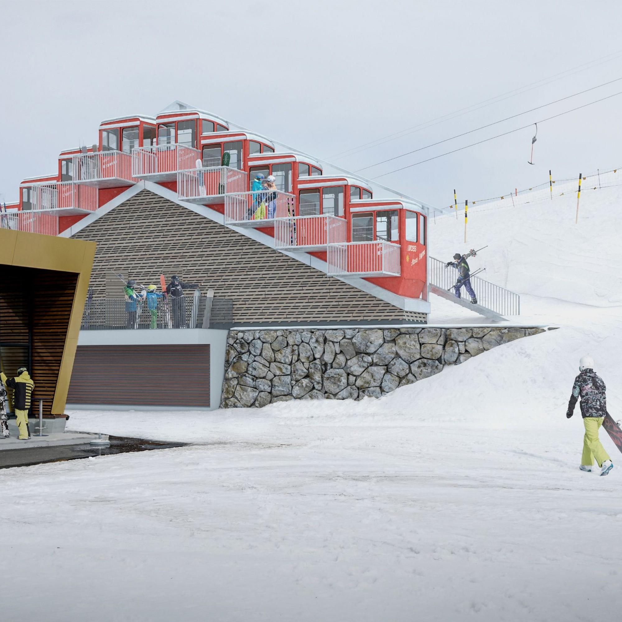 Die Lodge begrüsst die Anreisenden gleich neben der Bergstation der Standseilbahn.